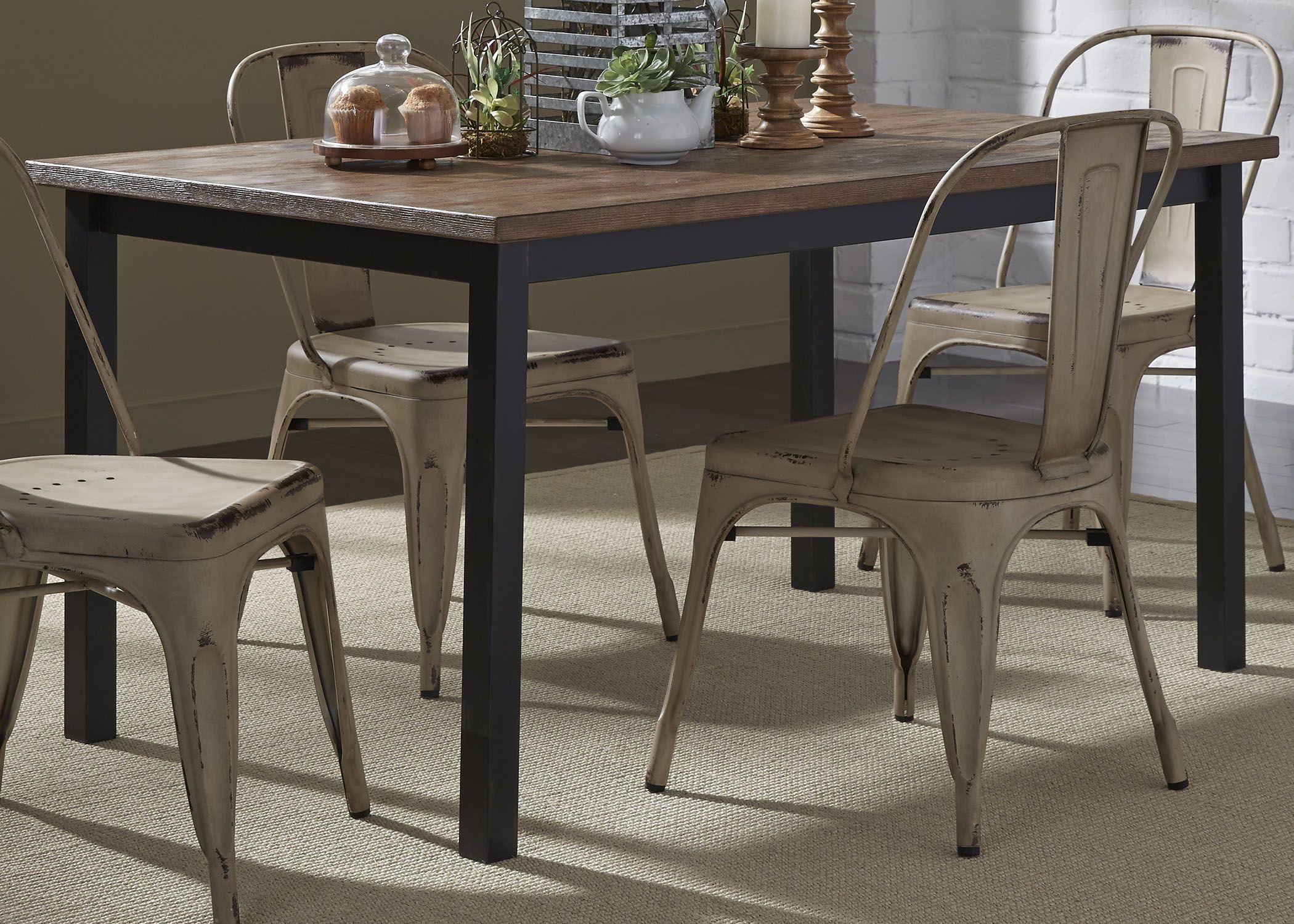 Vintage Weathered Gray Rectangular Leg Dining Table From