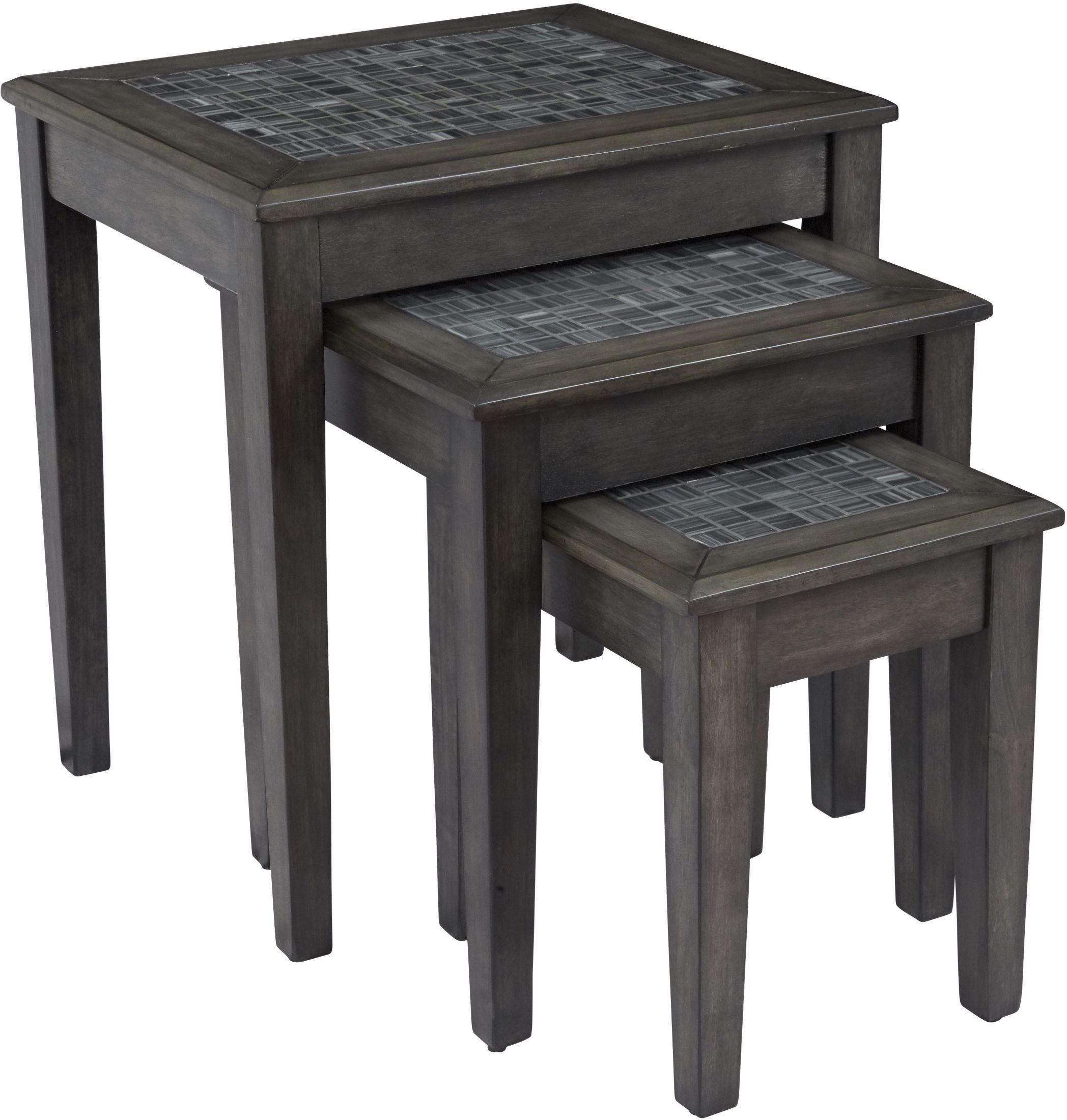 White Zinnia Nesting Tables Set Of 3: Grey Mosaic Nesting Tables Set Of 3 From Jofran