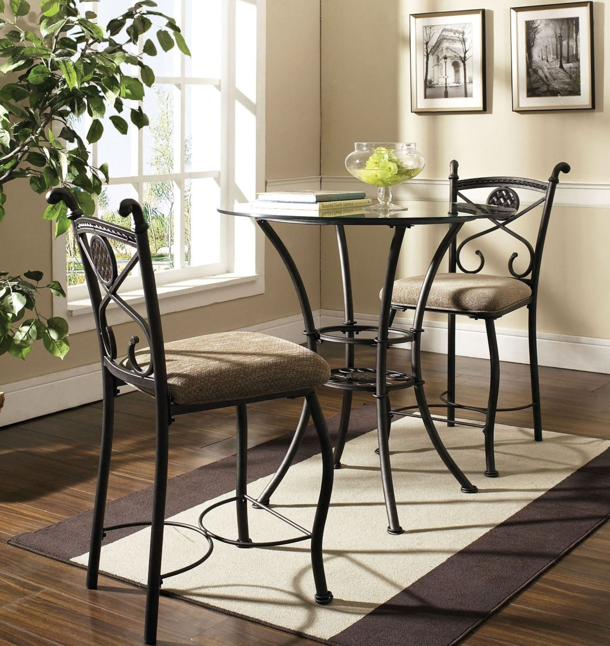 Counter Dining Room Sets: Brookfield Glass Round Counter Height Dining Room Set From