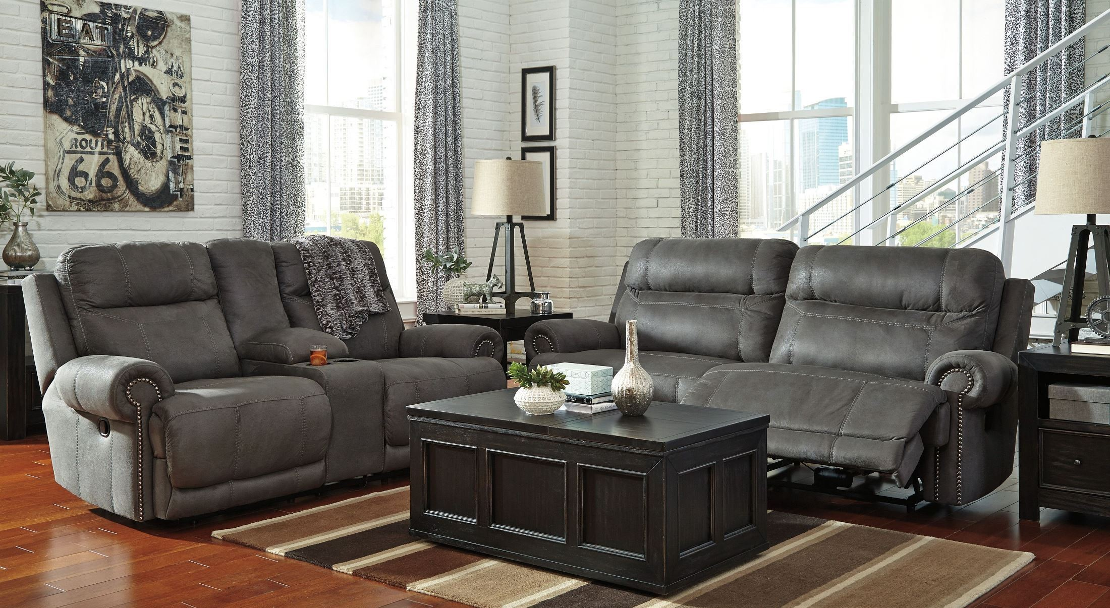 Austere Gray Reclining Living Room Set From Ashley