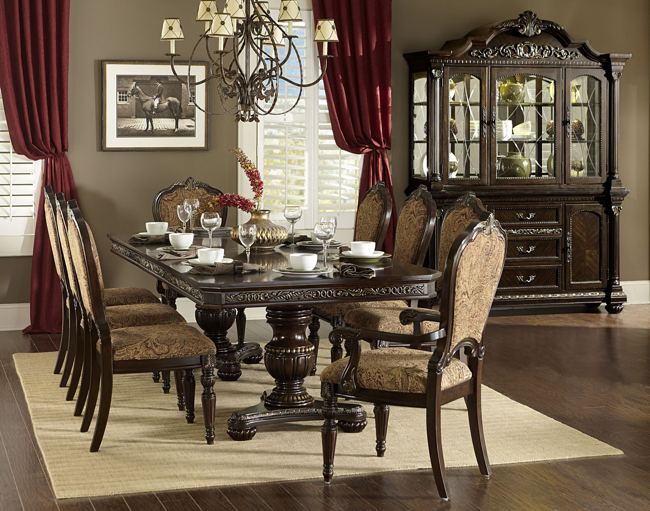 Russian hill warm cherry extendable dining room set from homelegance 1808 112 coleman furniture - Extending dining room sets ...