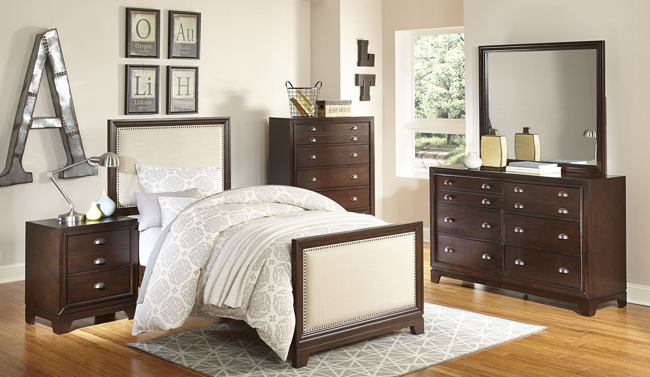 Bernal heights warm cherry youth panel bedroom set from for Youth bedroom furniture