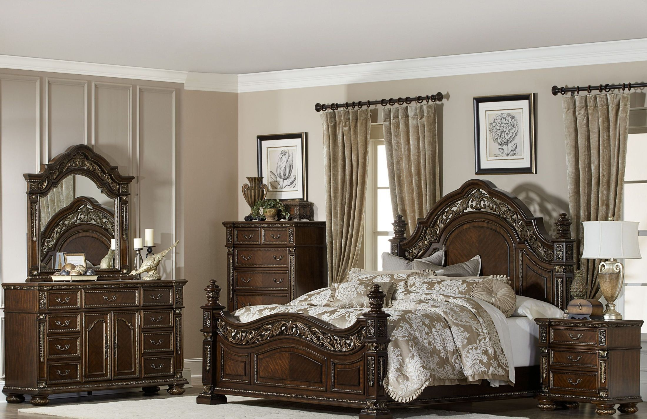 Catalonia Cherry Bedroom Set from Homelegance | Coleman Furniture