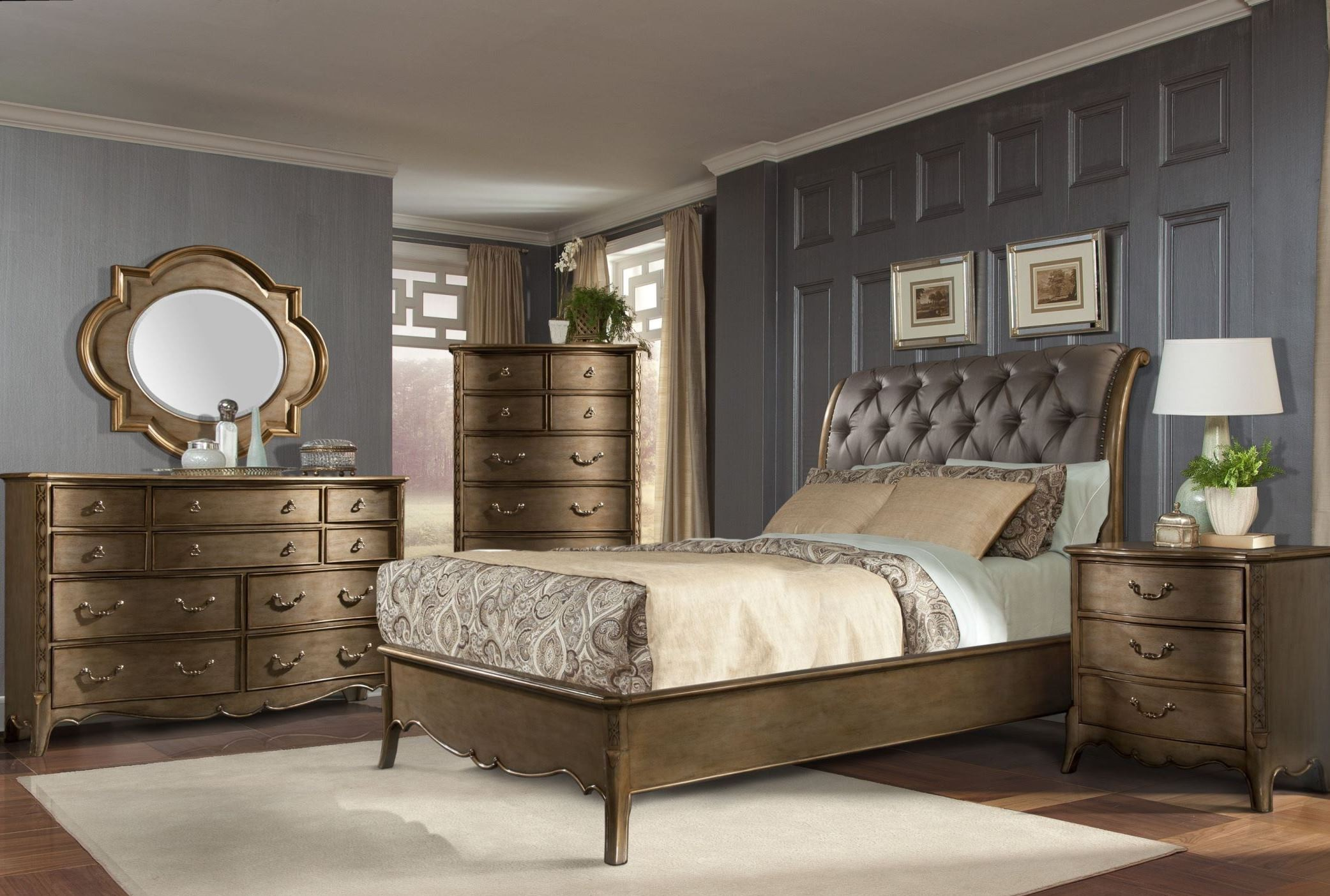 Chambord champagne gold sleigh bedroom set from Discount bedroom furniture dallas