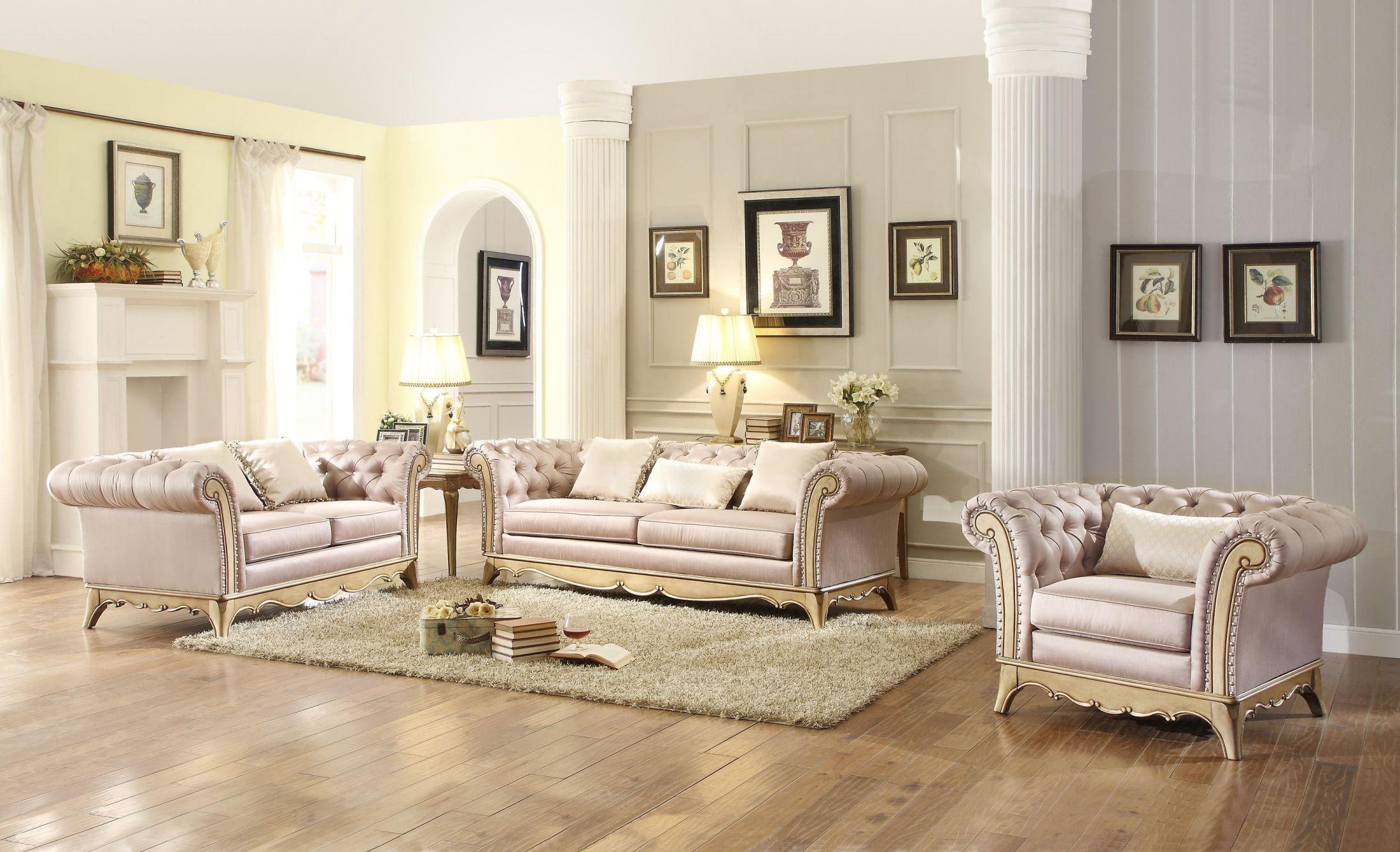 Chambord Champagne Gold Living Room Set from Homelegance (18289-3 ...