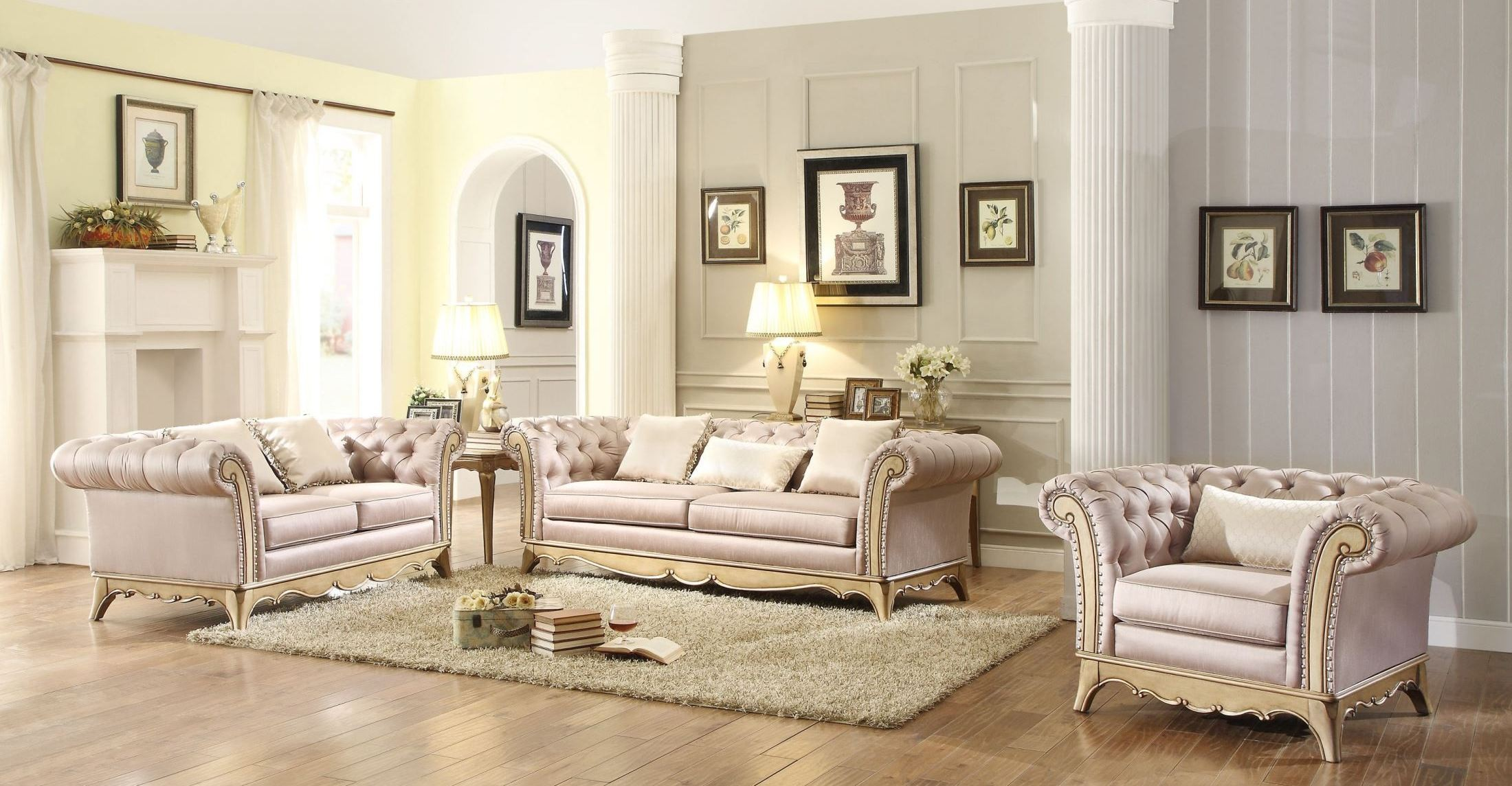 Chambord champagne gold living room set from homelegance for Gold sofa living room