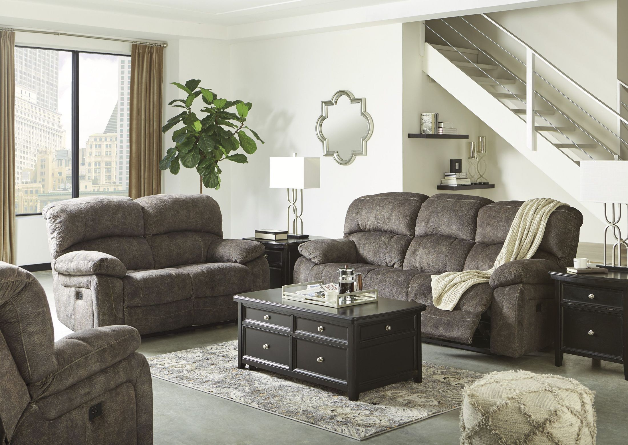 cannelton tri tone gray power reclining living room set from ashley coleman furniture. Black Bedroom Furniture Sets. Home Design Ideas