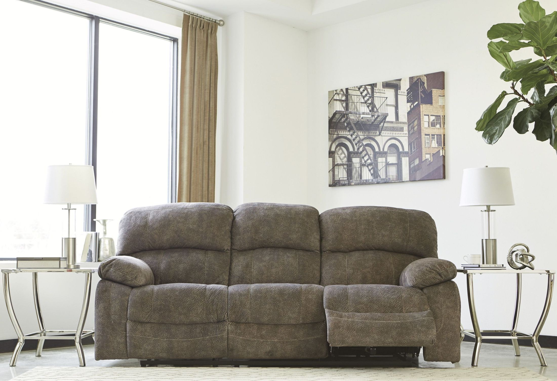 Cannelton Tri-Tone Gray Power Reclining Sofa With Adjustable ...