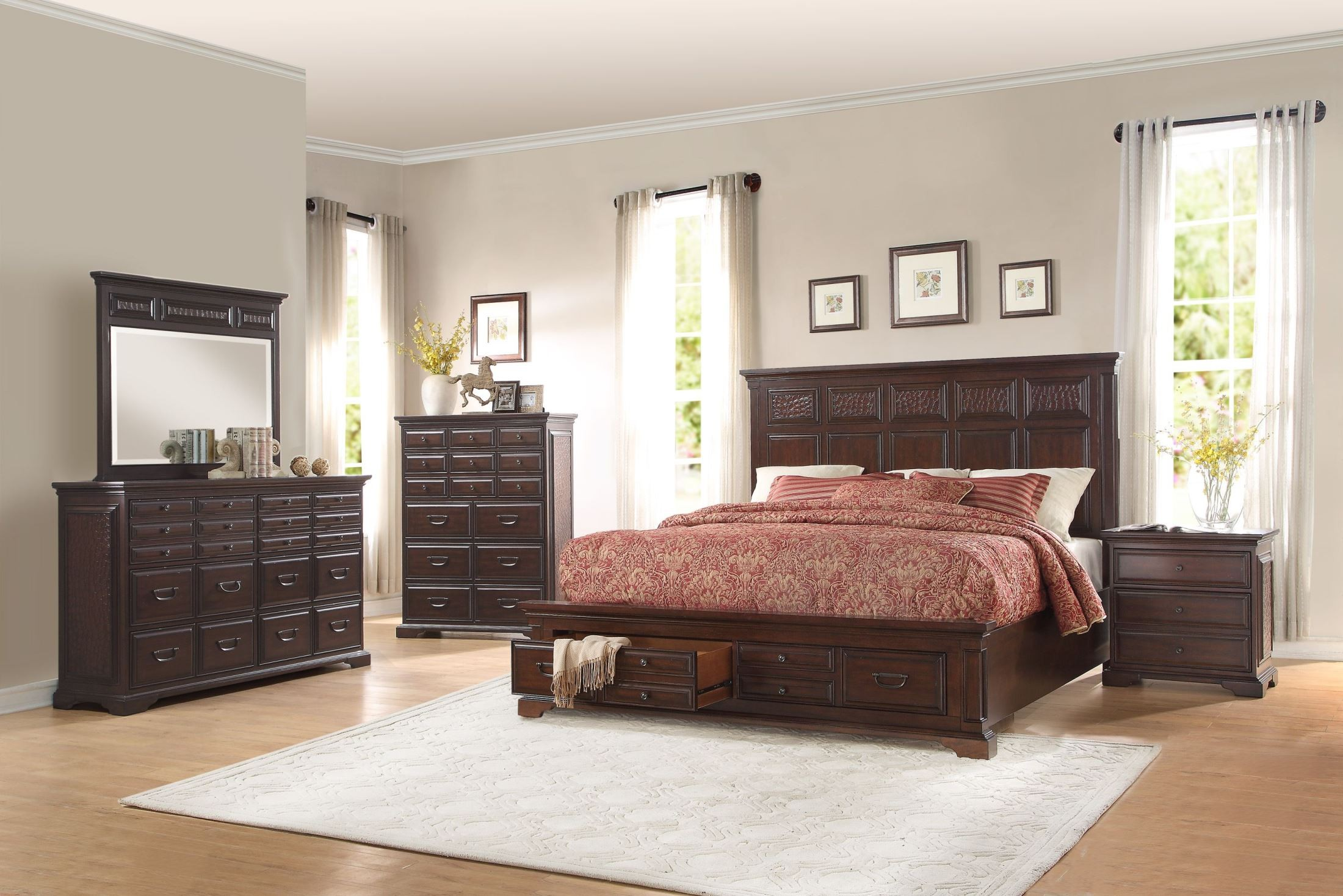 Cranfills Cherry Cal. King Storage Platform Bed From