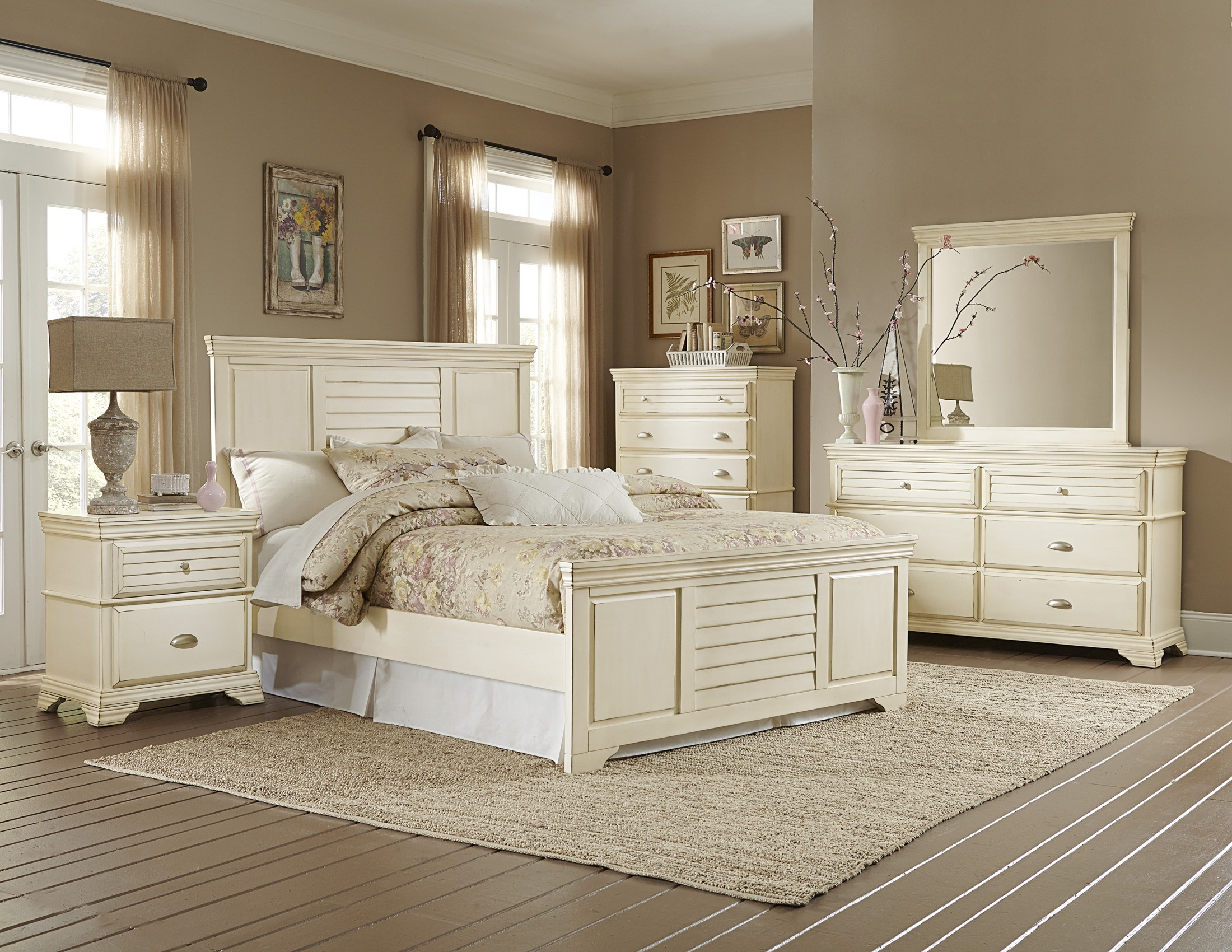 Laurinda antique white panel bedroom set from homelegance - White vintage bedroom furniture sets ...