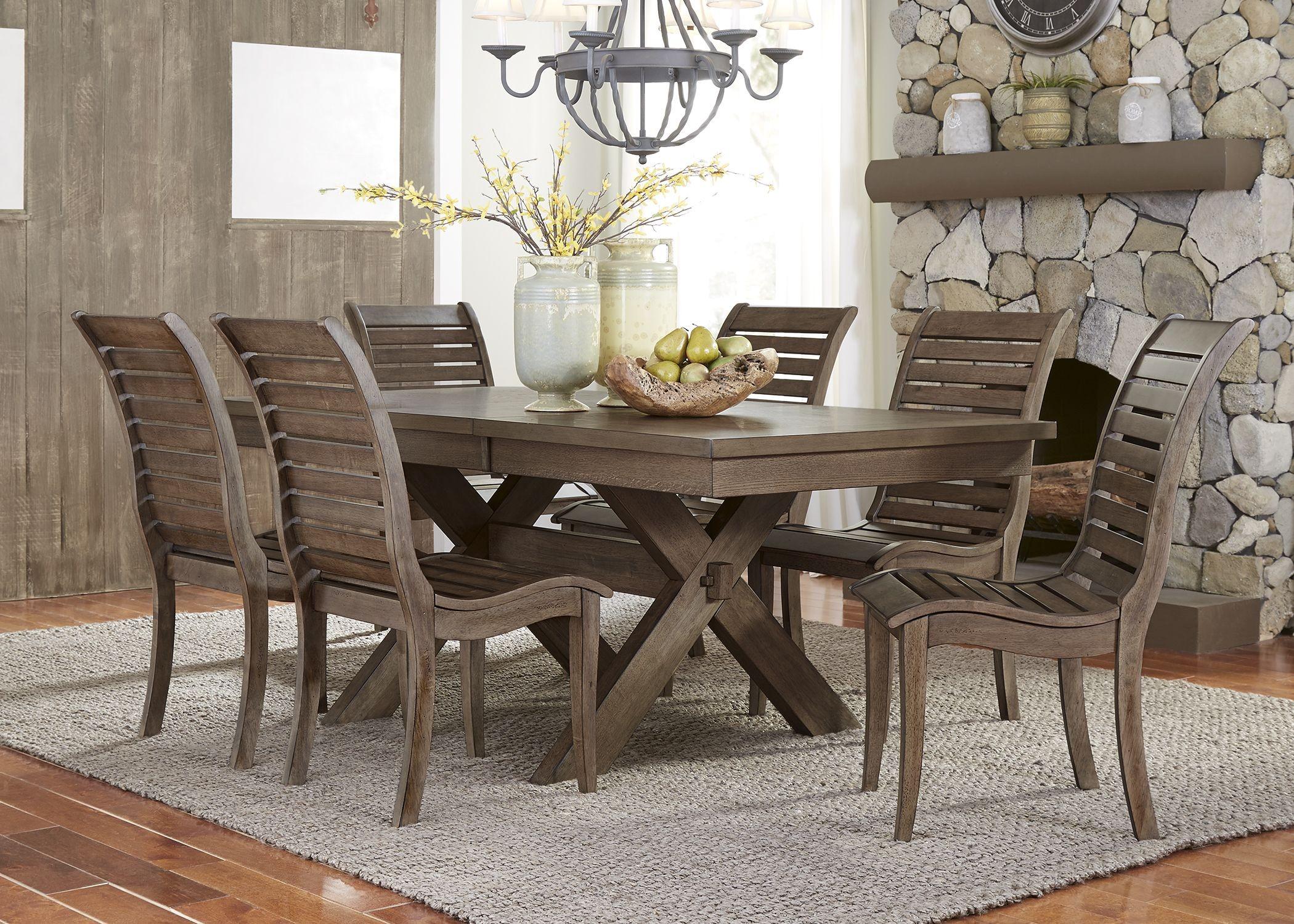 Bayside crossing chestnut extendable trestle dining room for Trestle dining room sets