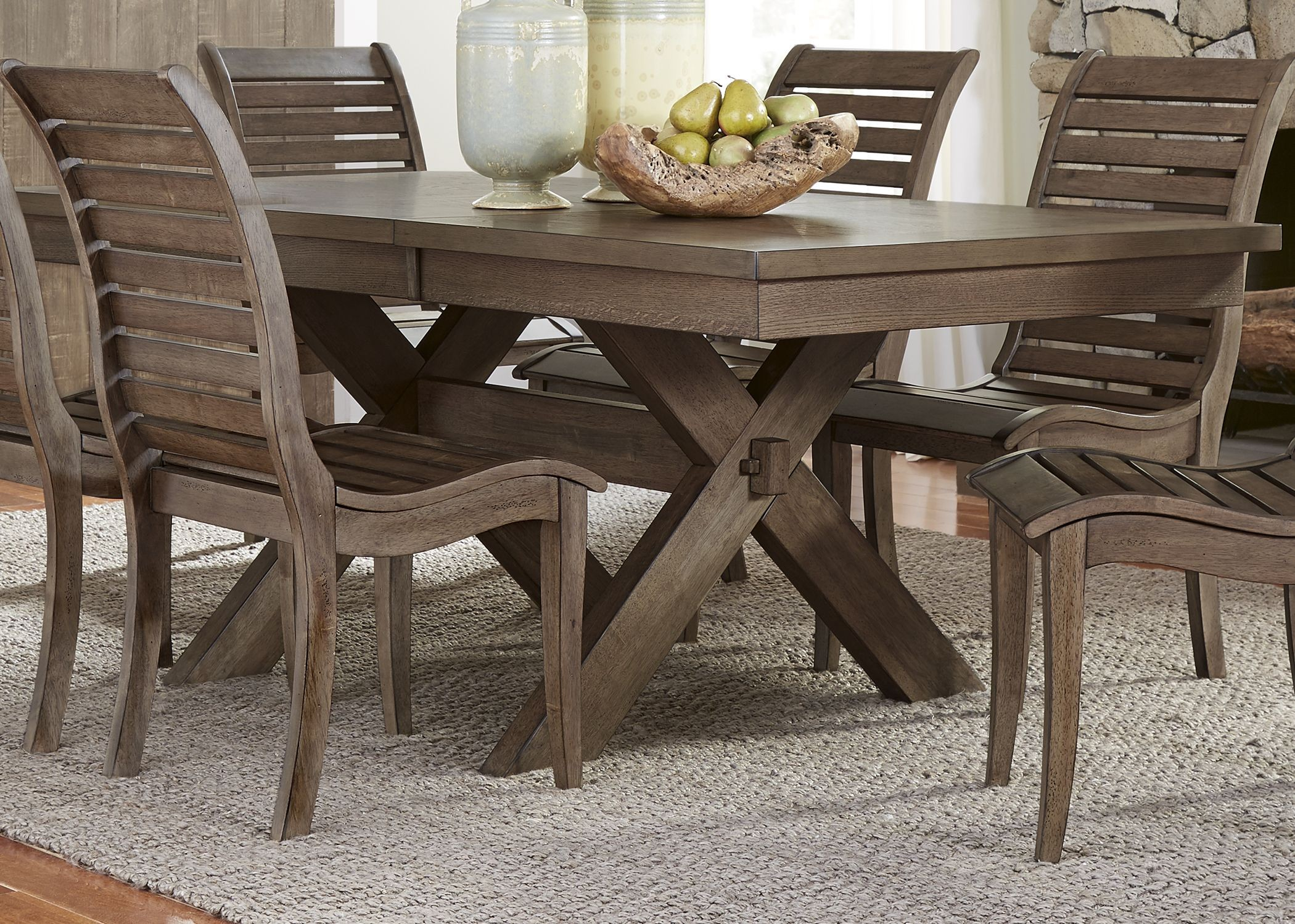 Bayside Crossing Chestnut Extendable Trestle Dining Room Set. Bayside  Crossing From Liberty. 914130. 914128. 914127