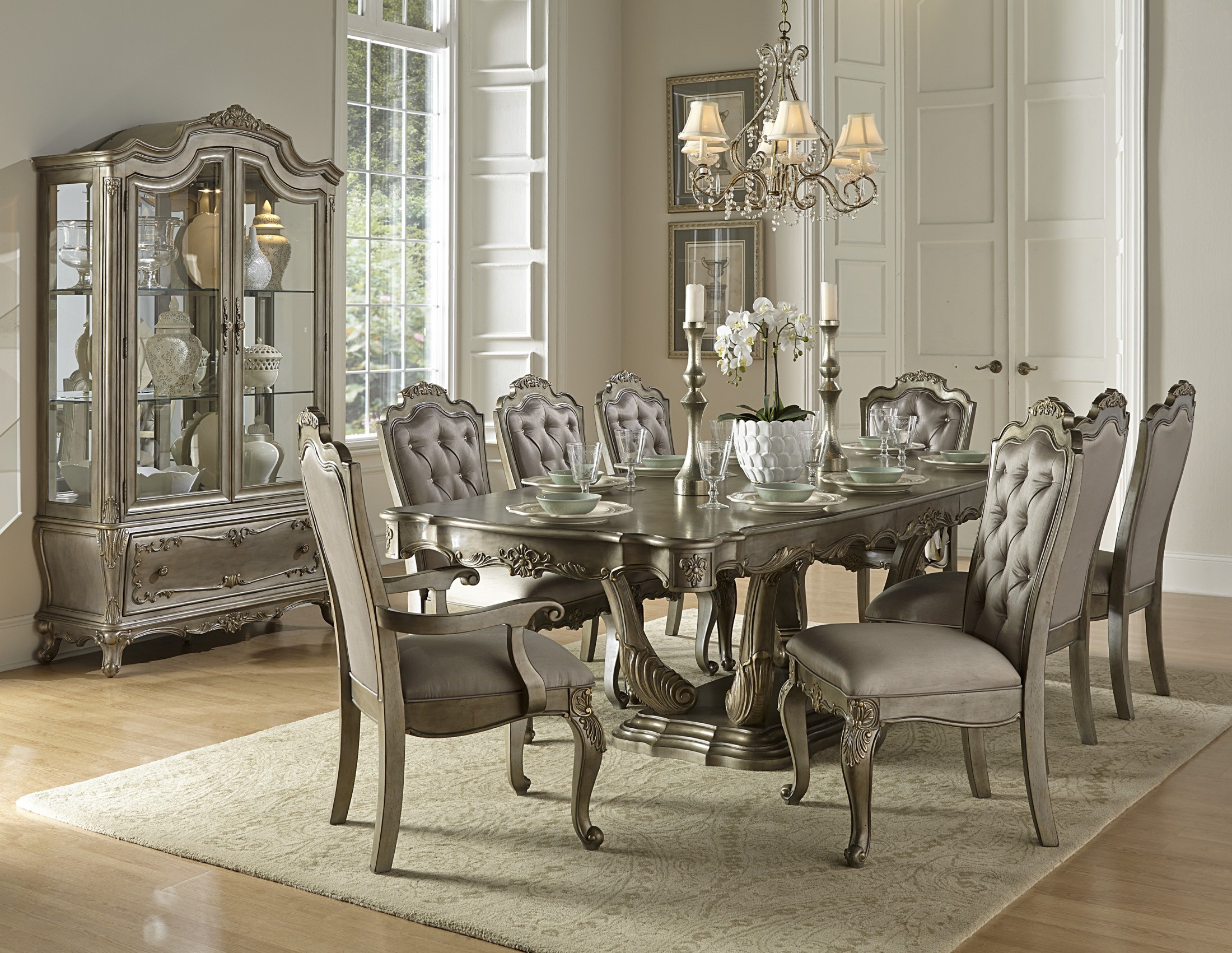 Florentina Gold Extendable Dining Room Set from Homelegance (1867 ...
