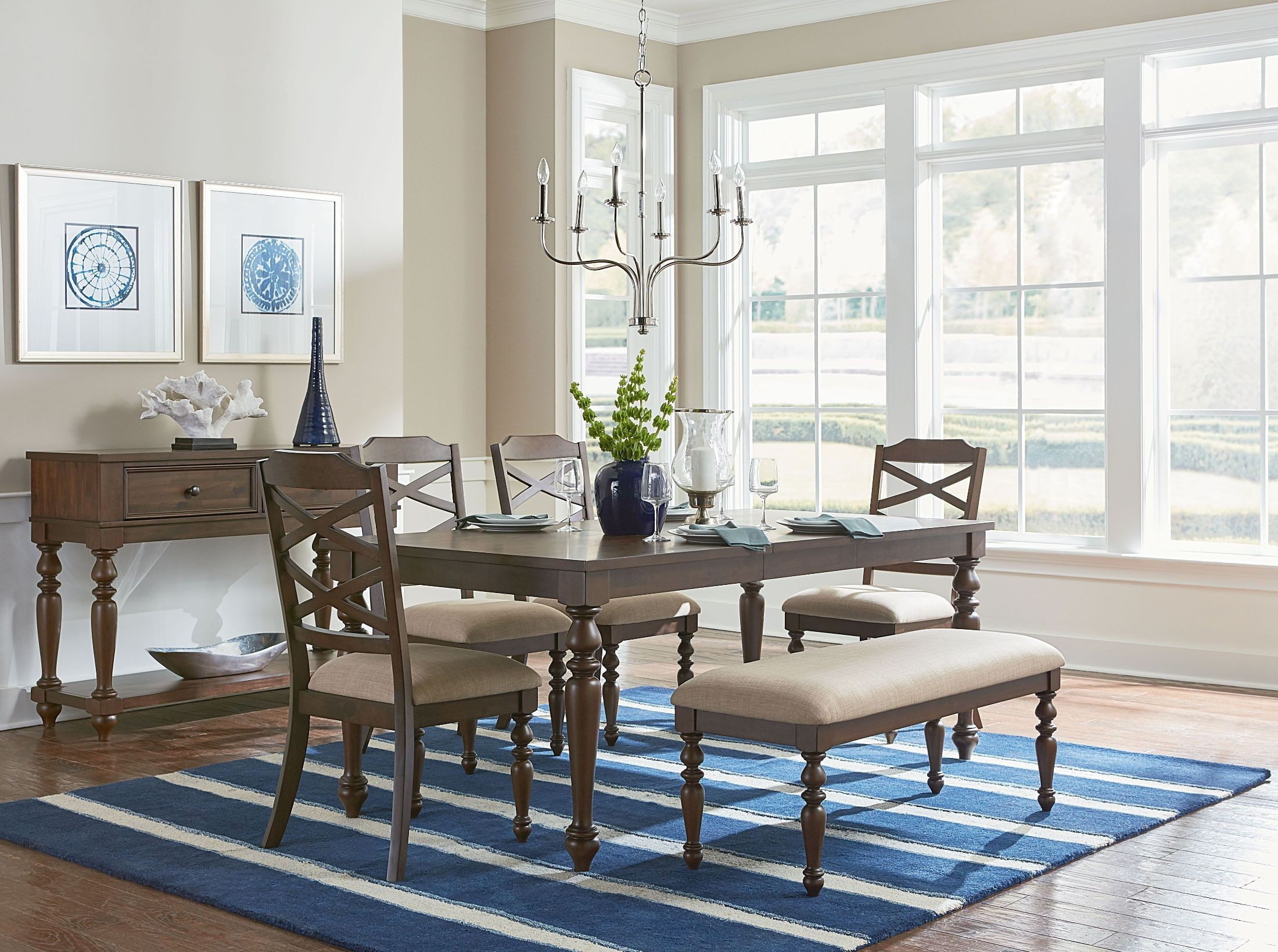 Larson Cherry Extendable Dining Room Set
