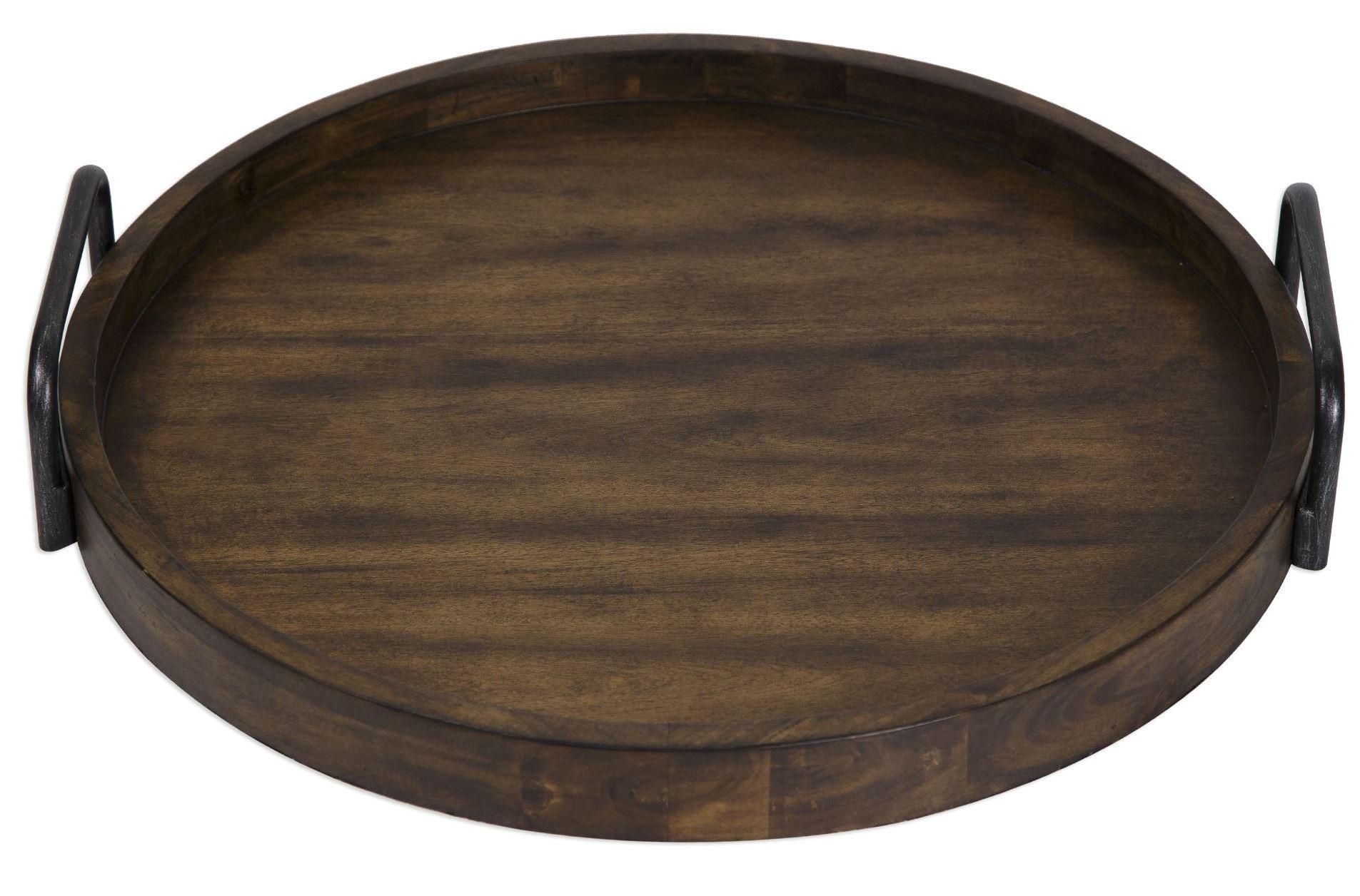 Reine Brown Round Wooden Tray From Uttermost Coleman
