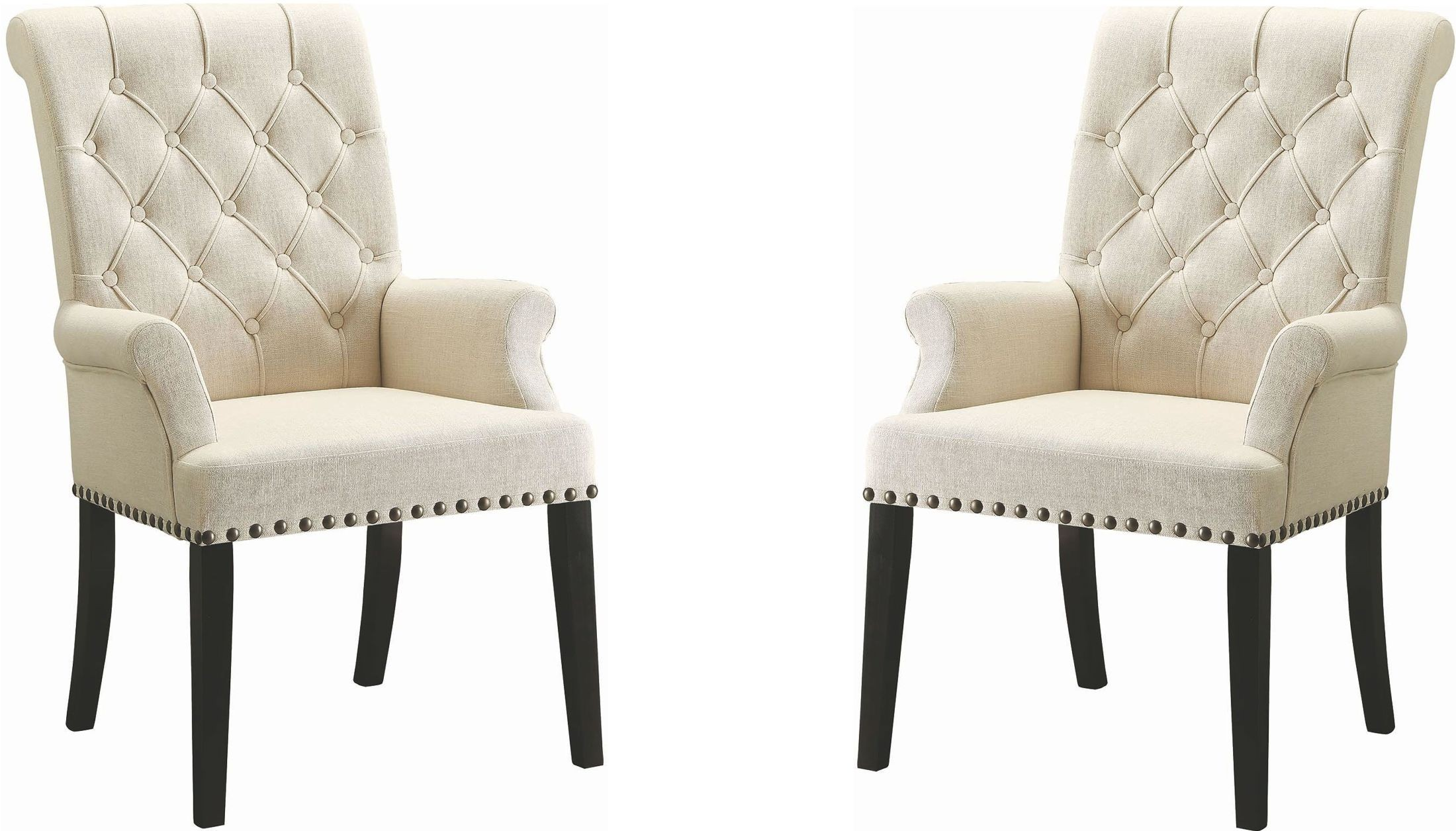 cream upholstered chair parkins cream upholstered arm chair from coaster coleman 13626 | 190163 av1 set of 2