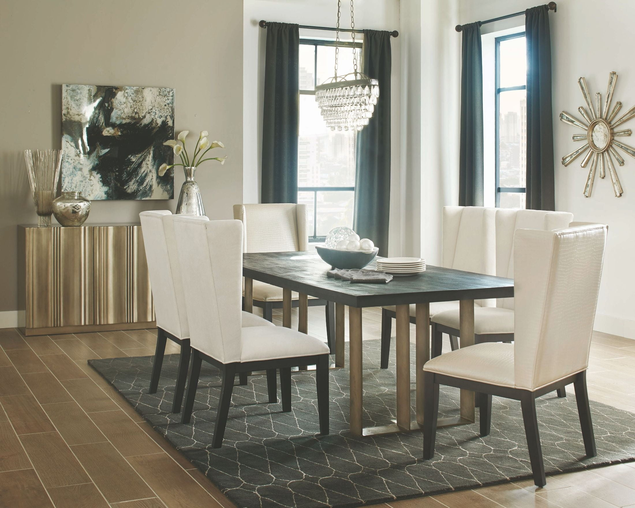 Friedman Worn Black Dining Room Set