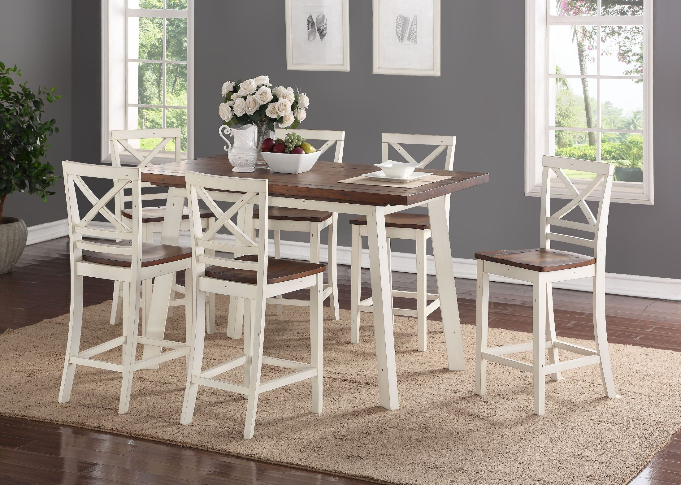Amelia White And Chestnut Counter Height Dining Table Set