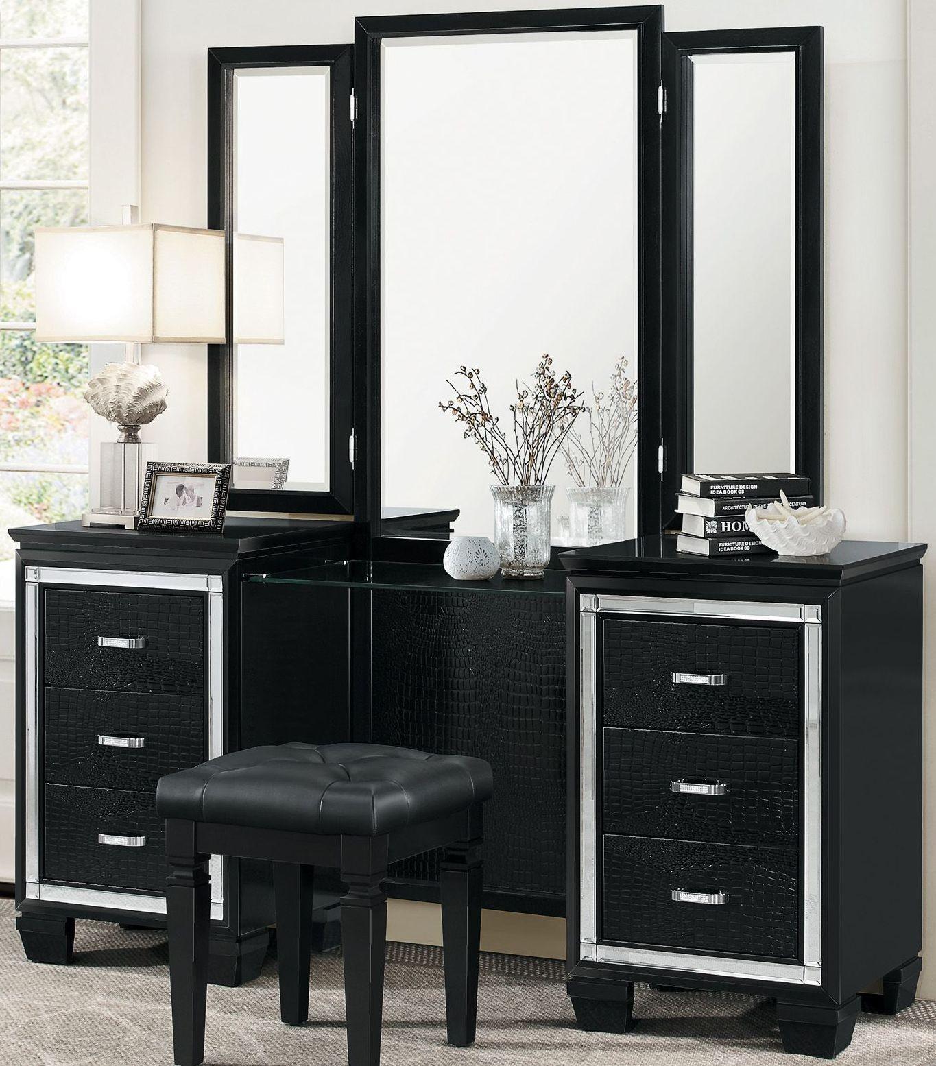 Allura Black Upholstered Panel Bedroom Set from Homelegance ...