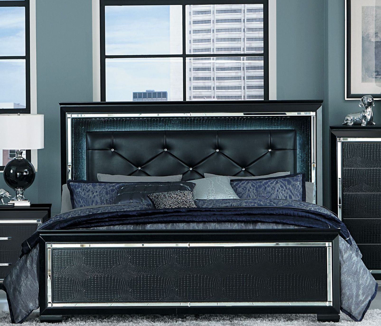 Allura Black Queen Upholstered Panel Bed From Homelegance