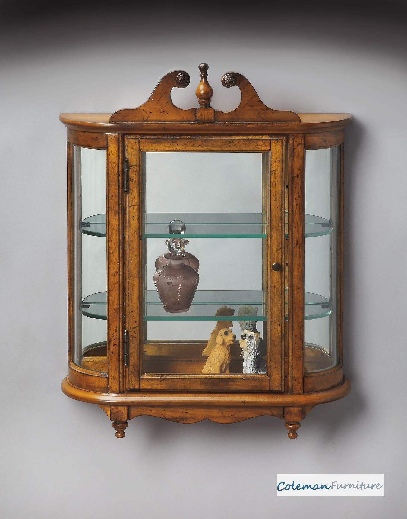 Vintage Oak Wall Curio From Butler 1927001 Coleman