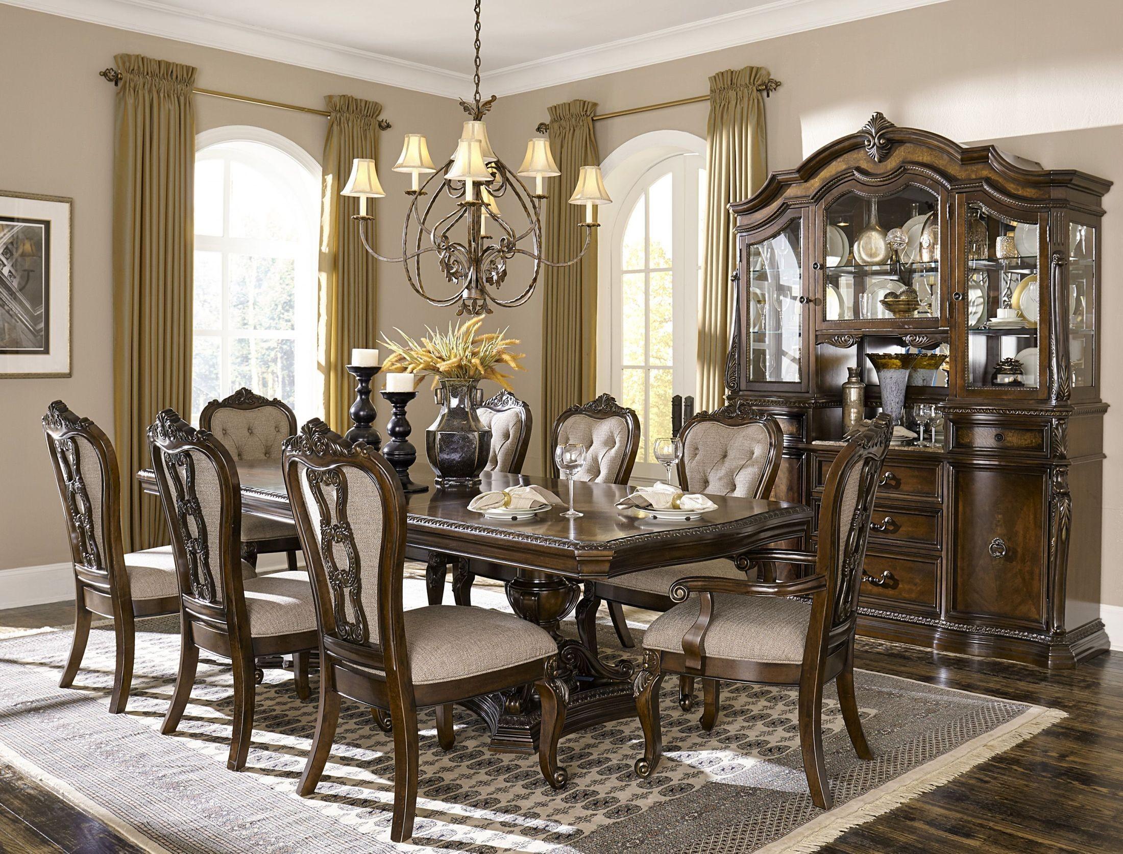 Bonaventure park cherry extendable double pedestal dining for Cherry dining room set