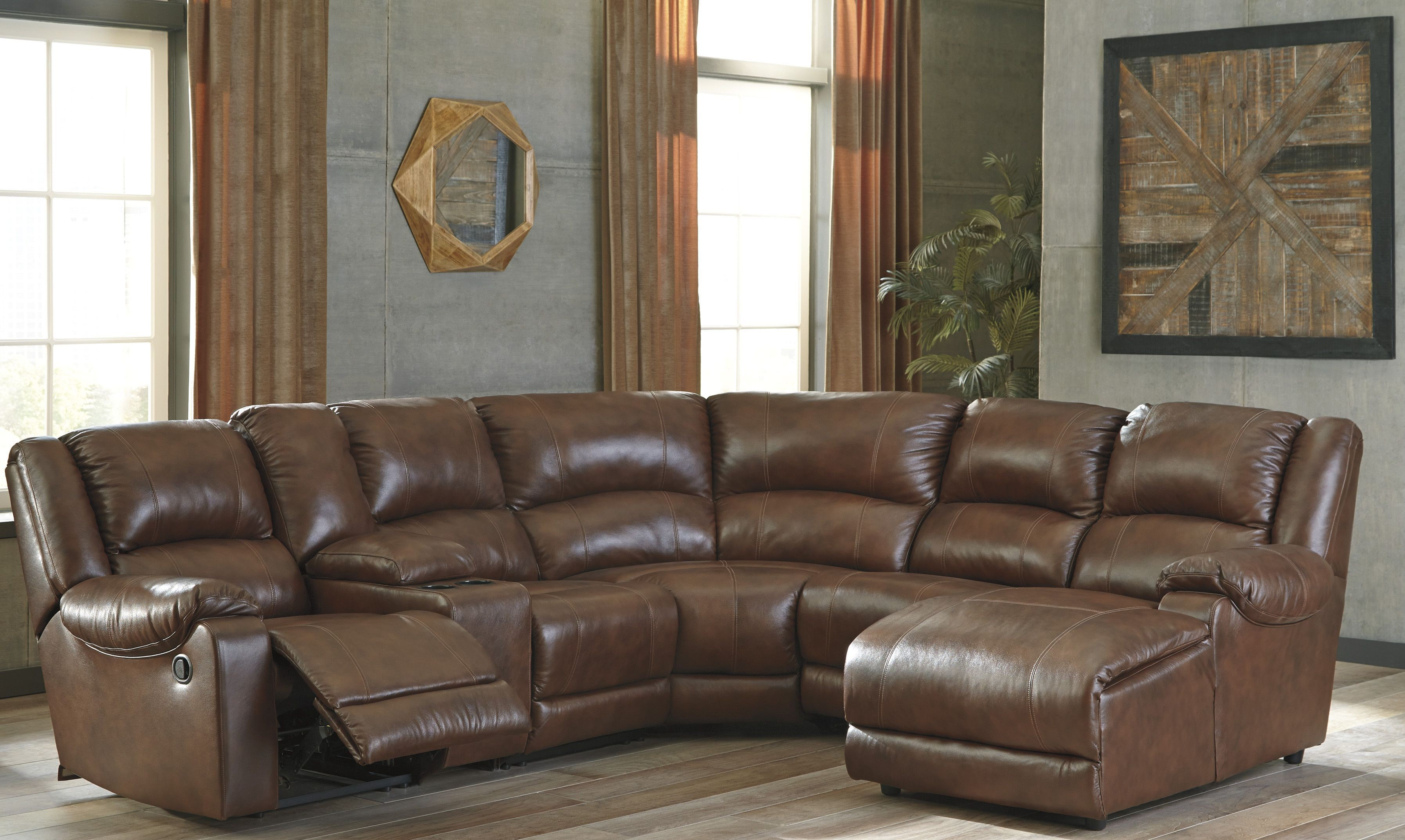 power leather in burgundy fixed reclining sectional kennard sofa