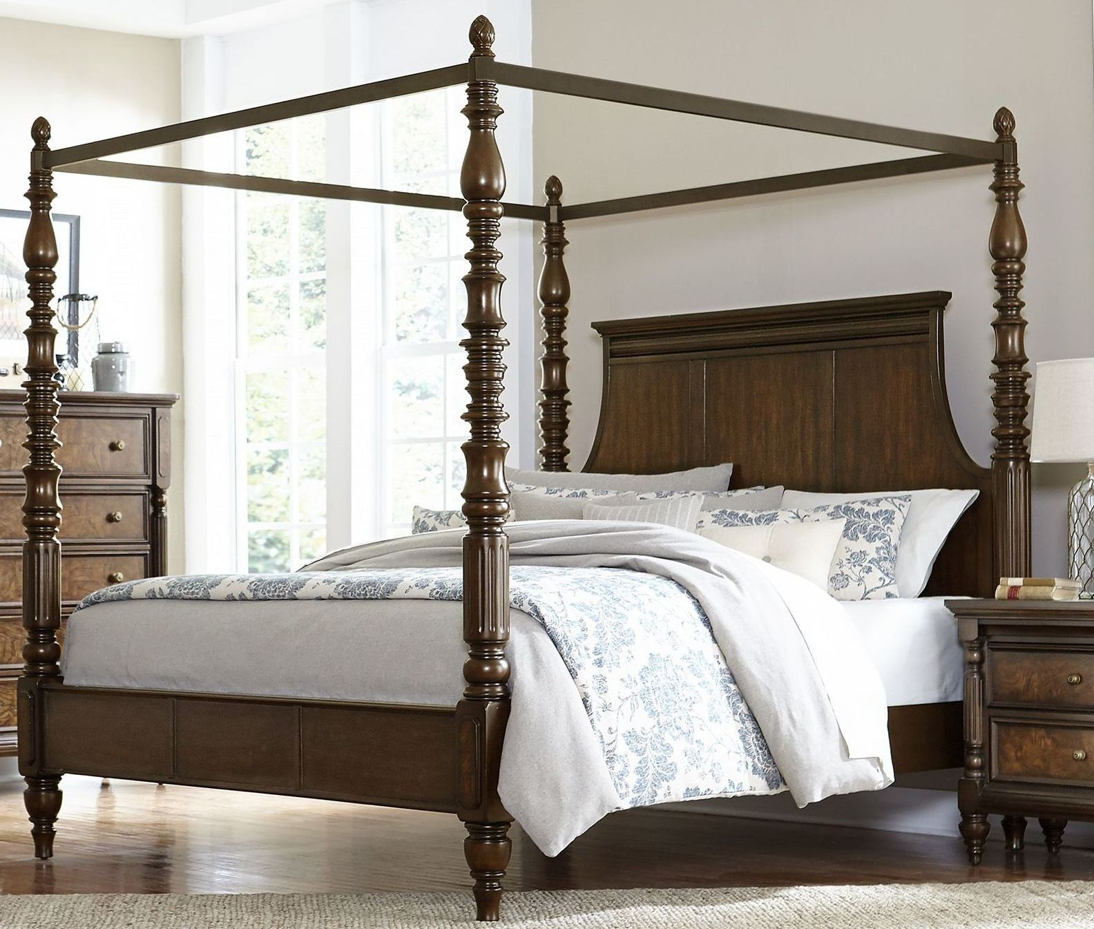 Verlyn Cherry Cal. King Canopy Bed From Homelegance