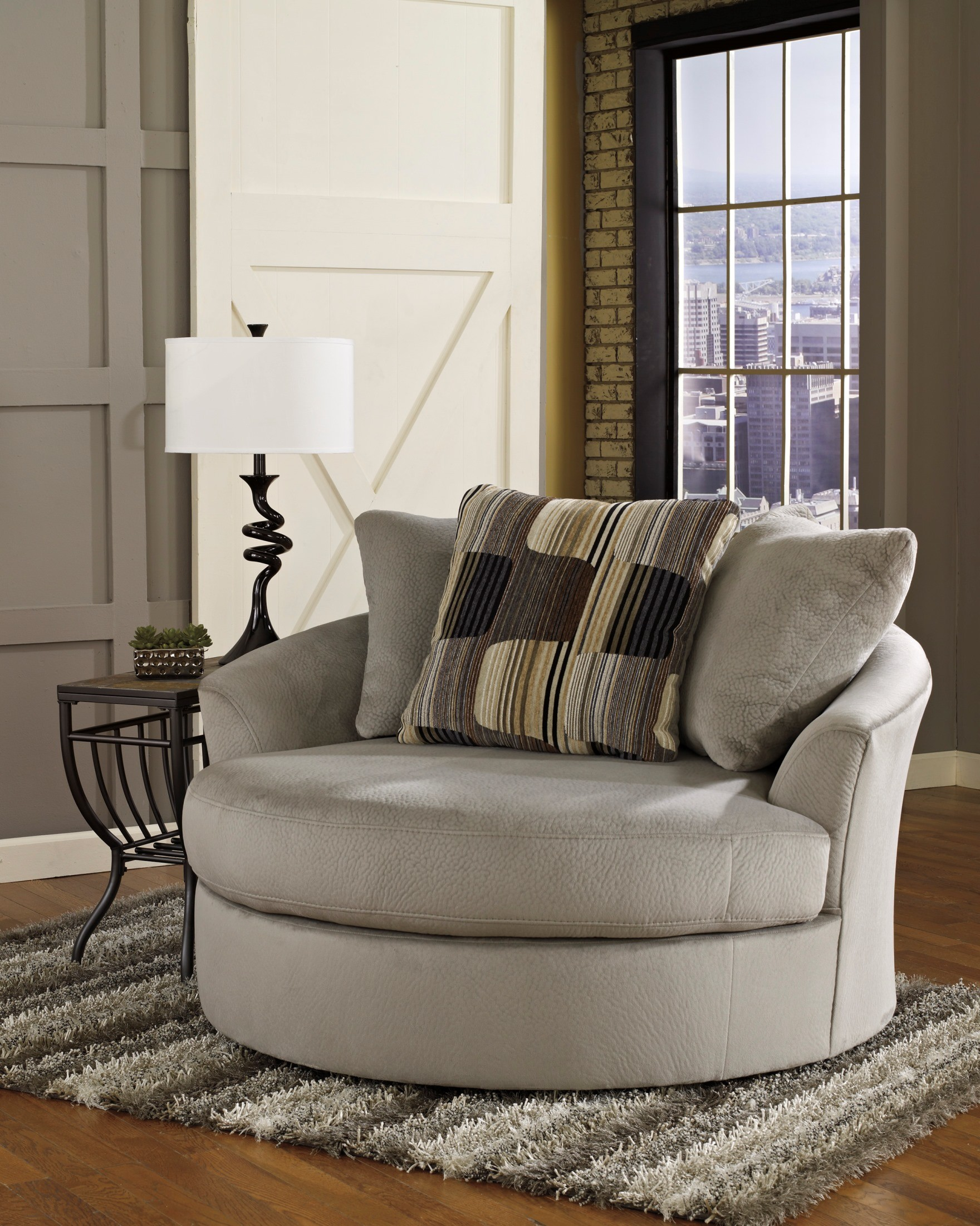 Westen Granite Oversized Swivel Accent Chair, 1950121
