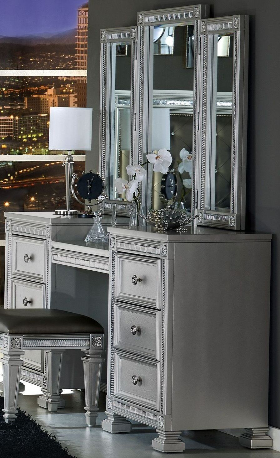 Bevelle Silver Vanity With Mirror From Homelegance