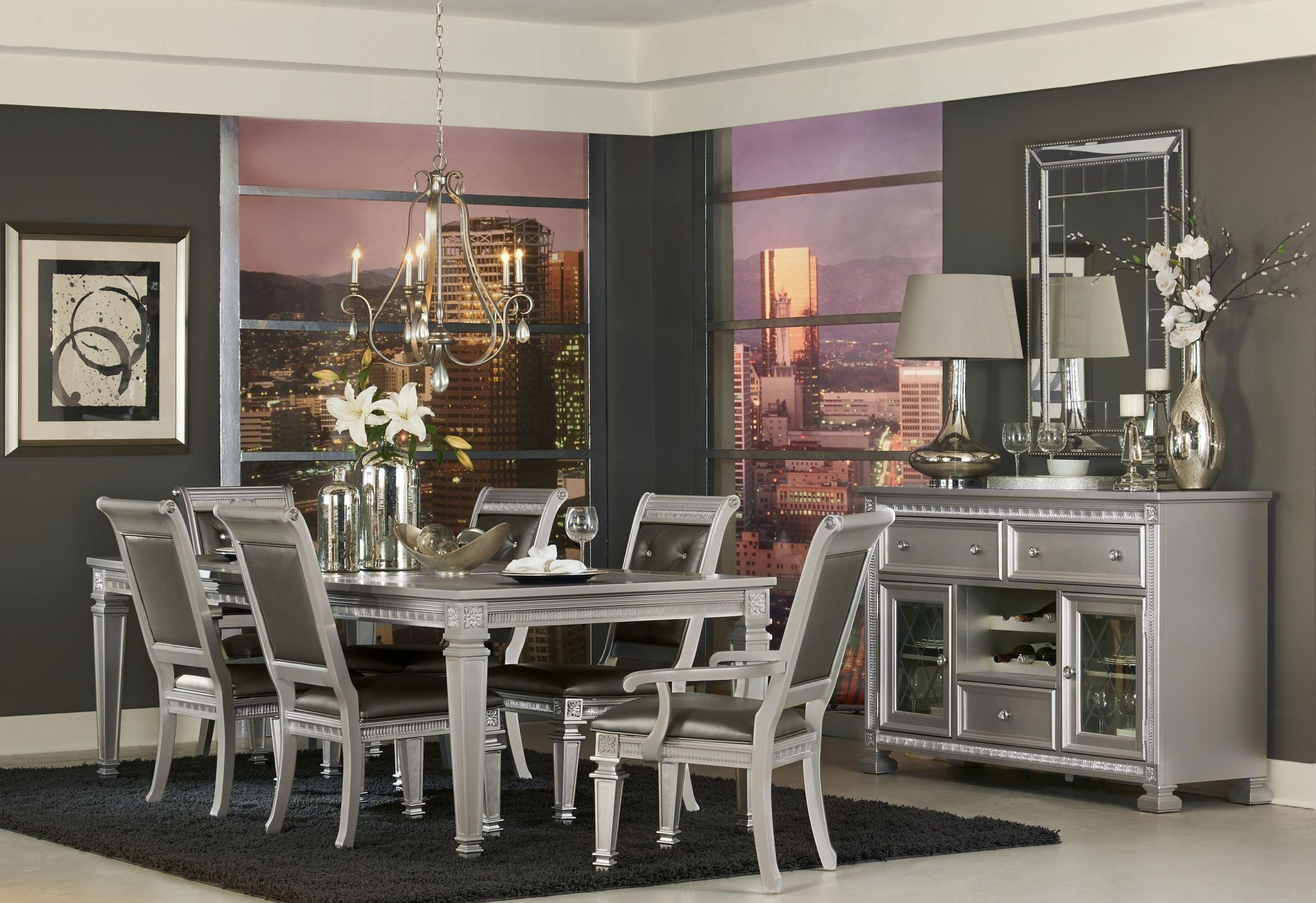 silver dining room sets. Bevelle Silver Extendable Dining Room Set from Homelegance