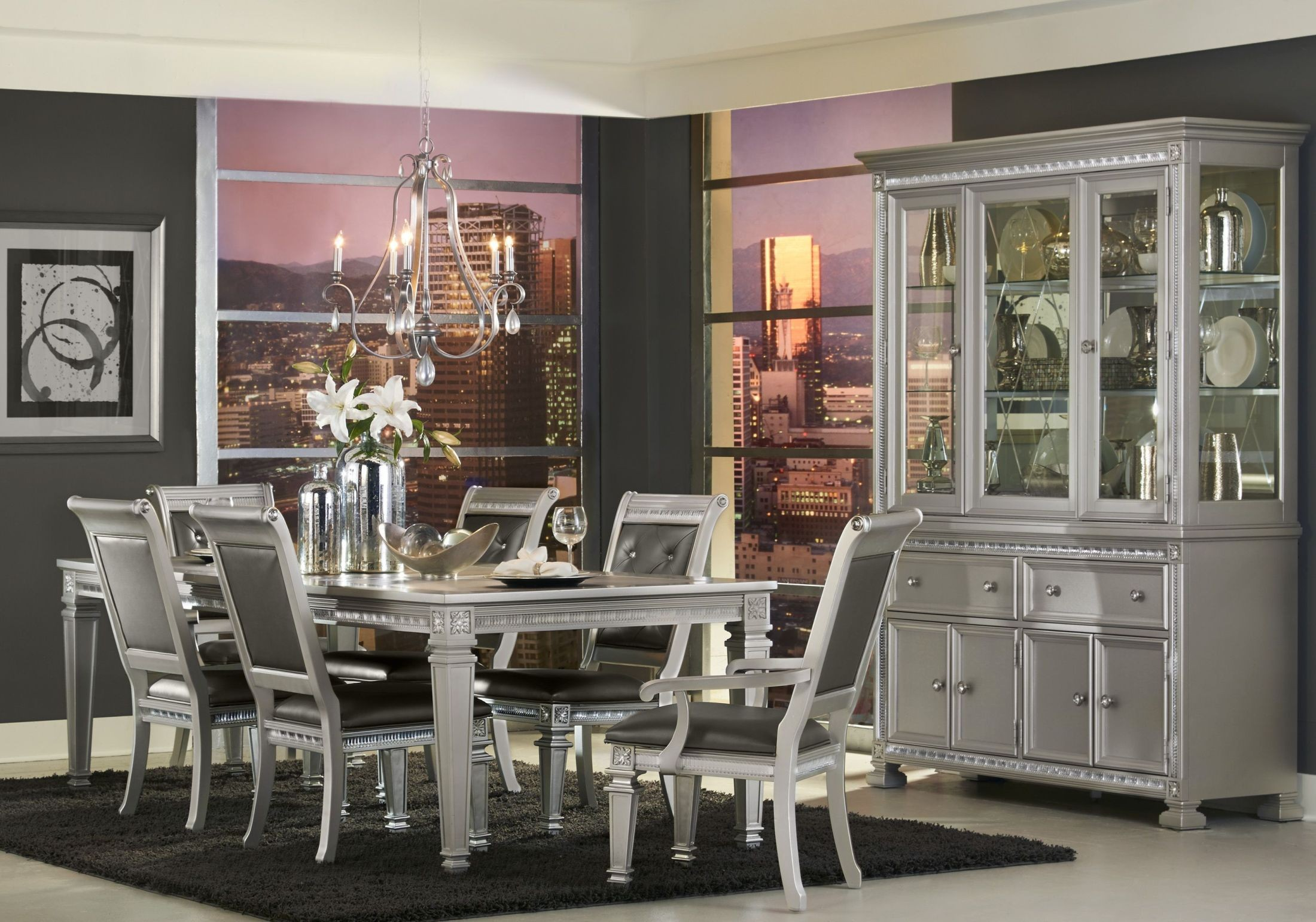 Bevelle silver extendable dining room set from homelegance coleman furniture - Black and silver dining room set designs ...