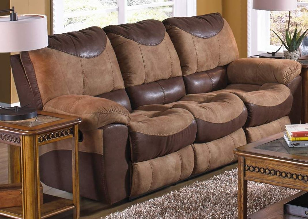 Portman saddle chocolate reclining sofa from catnapper for Affordable furniture 3 piece sectional in wyoming saddle
