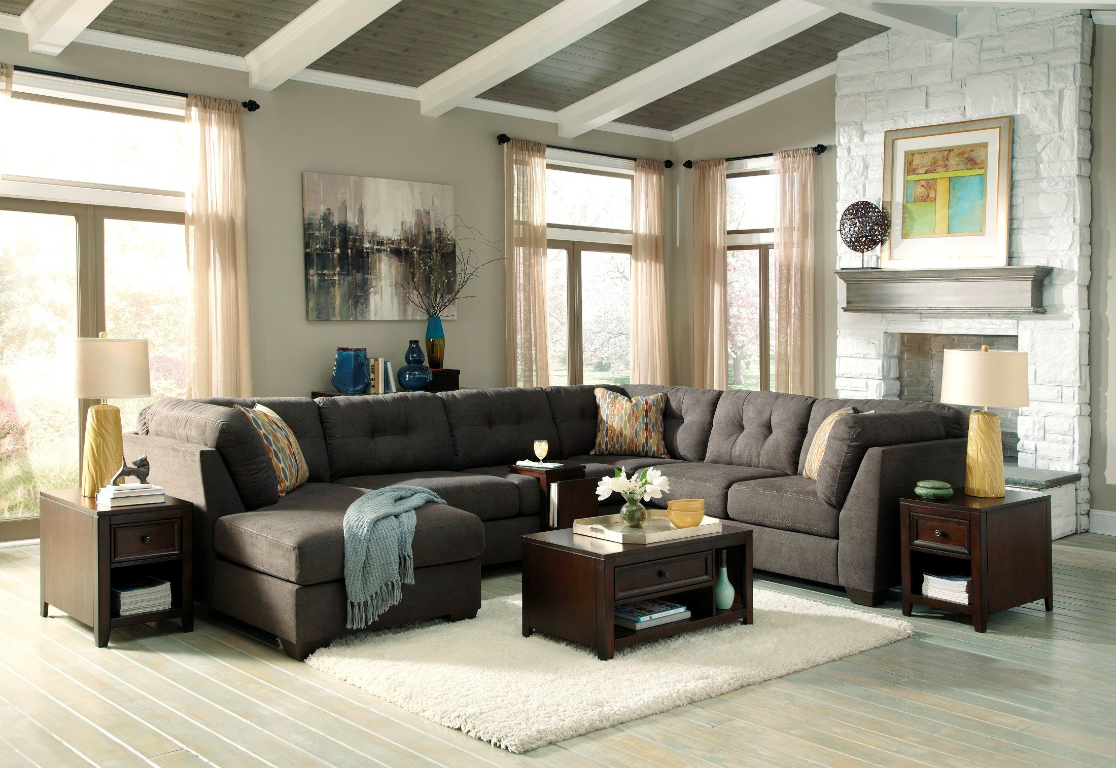 sofas design by darcy benchcraft lsg furniture signature sofa item michael sectional ashley arms with sweeping cafe contemporary pillow collections s warehouse