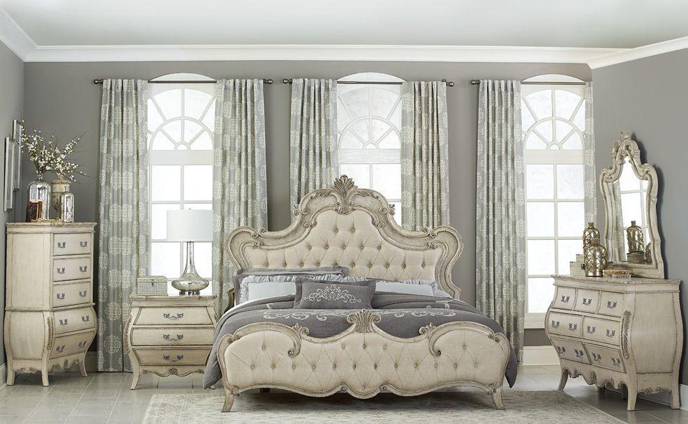 Grey Vintage Bedroom: Elsmere Antique Grey Upholstered Bedroom Set, 1978W-1