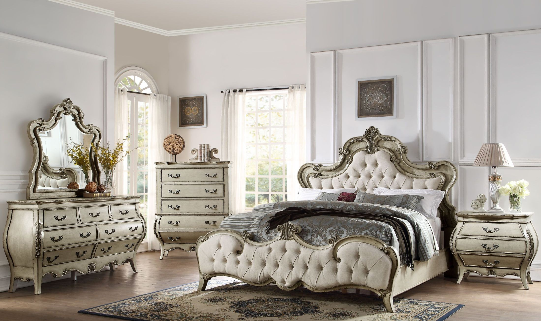 Elsmere Antique Grey Upholstered Bedroom Set from Homelegance ...
