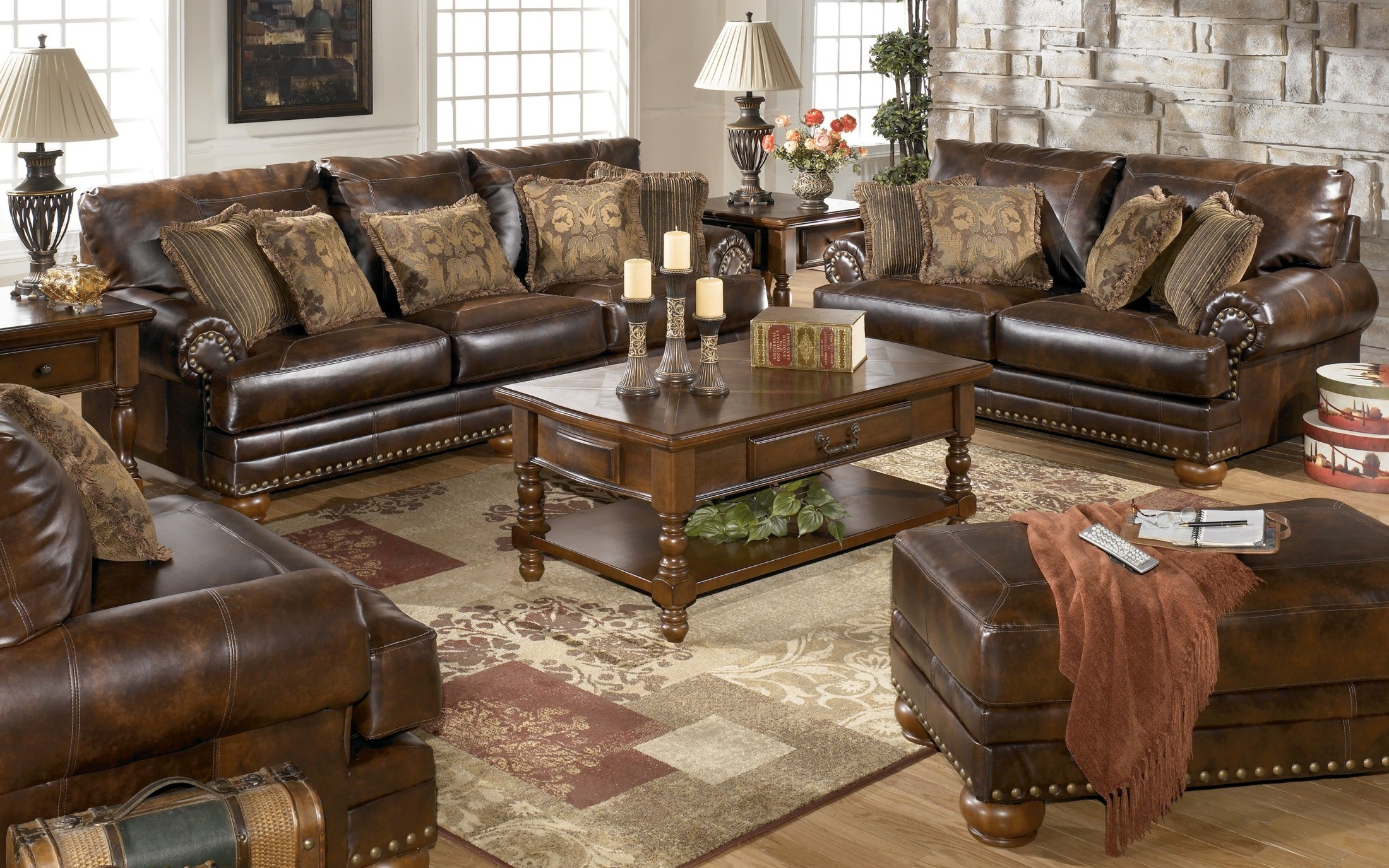 Chaling durablend antique living room set from ashley 99200
