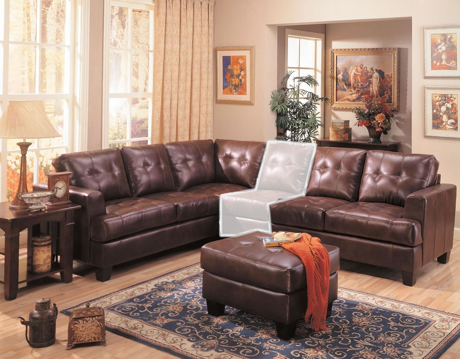 Stanton 3 piece living room set brown - Samuel 3 Piece Brown Leather Sectional Sofa Coaster Furniture 1940001