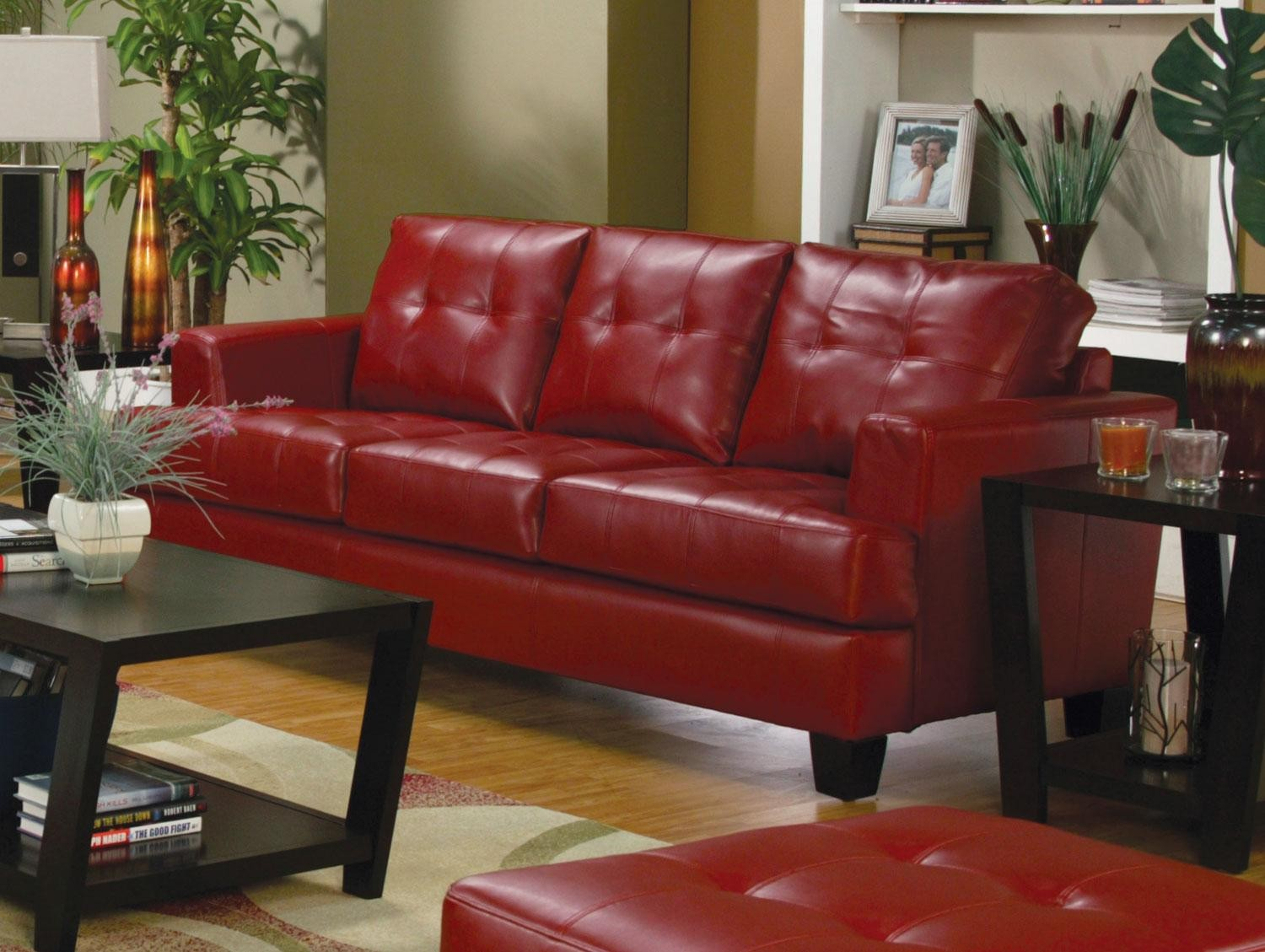 Samuel Red Leather Living Room Collection From Coaster Furniture 358955 358956 358957 358958