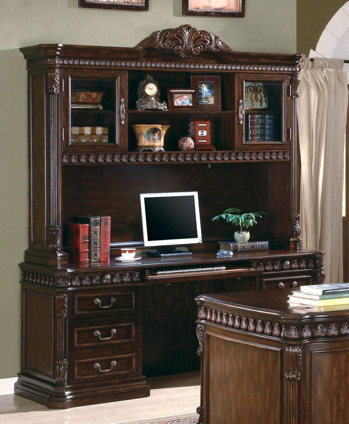 Perfect Union Hill Rich Brown Home Office Credenza With Hutch
