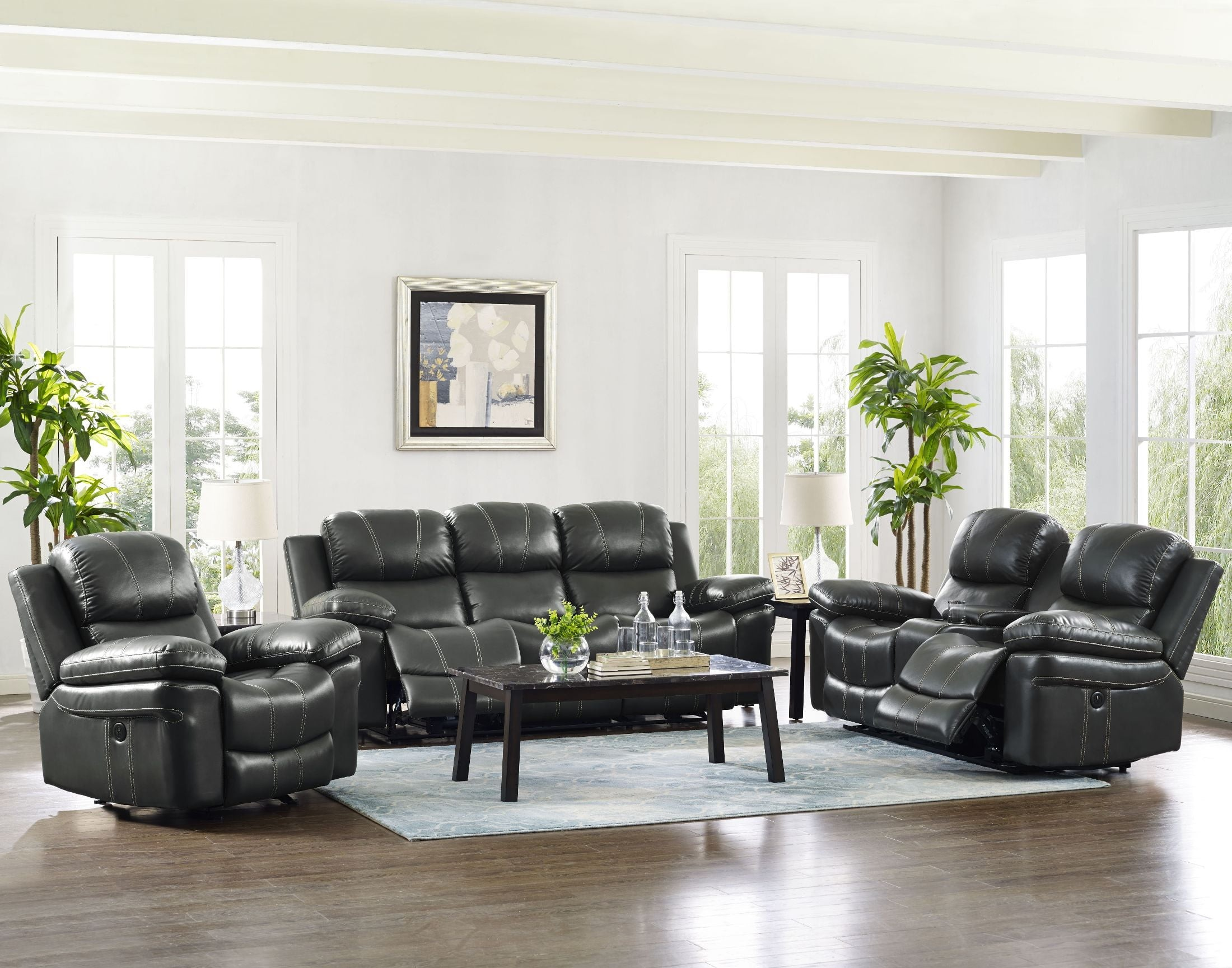 Cadence Delta Gray Dual Reclining Living Room Set from New Classic ...