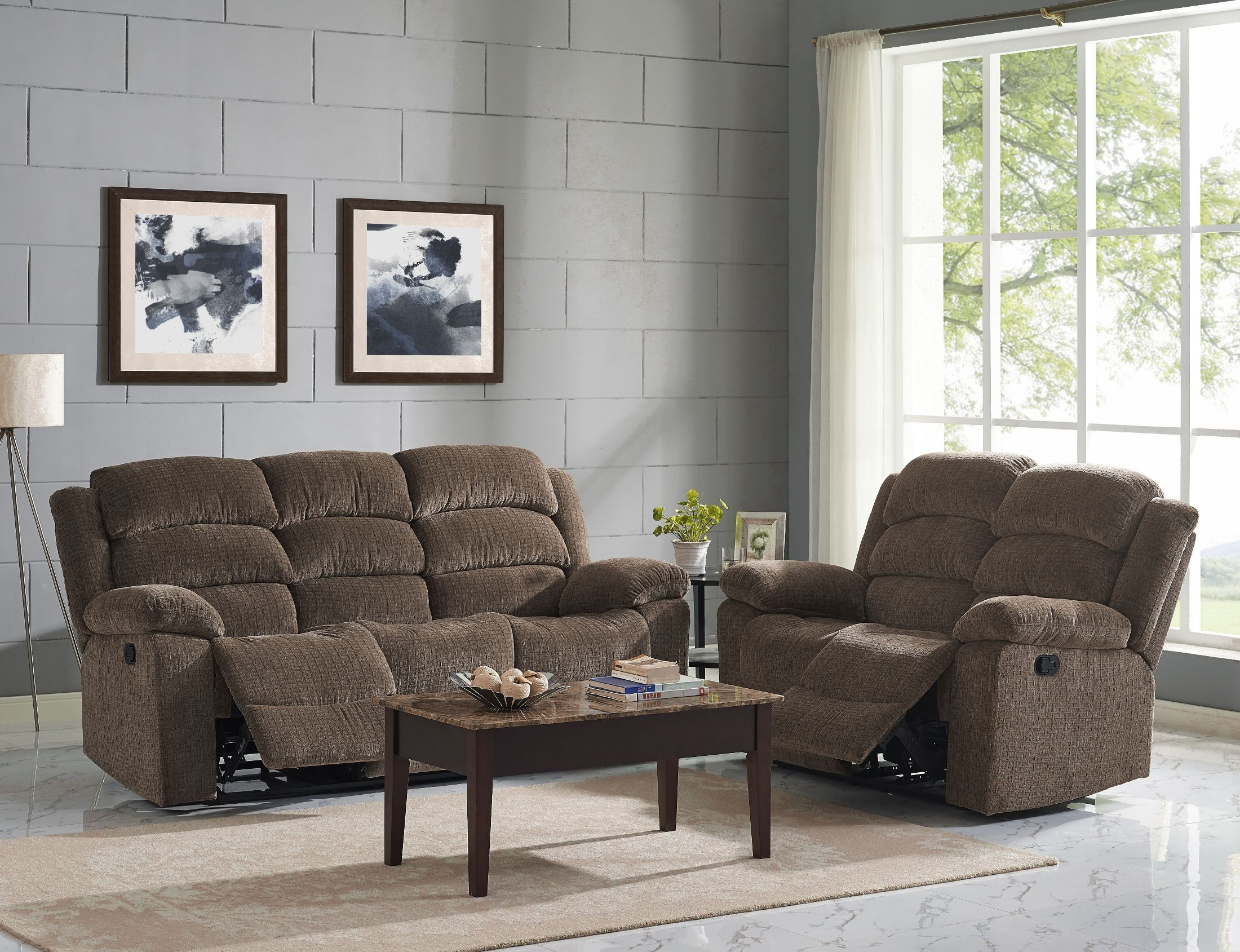 Austin chocolate power reclining living room set with for Living room austin