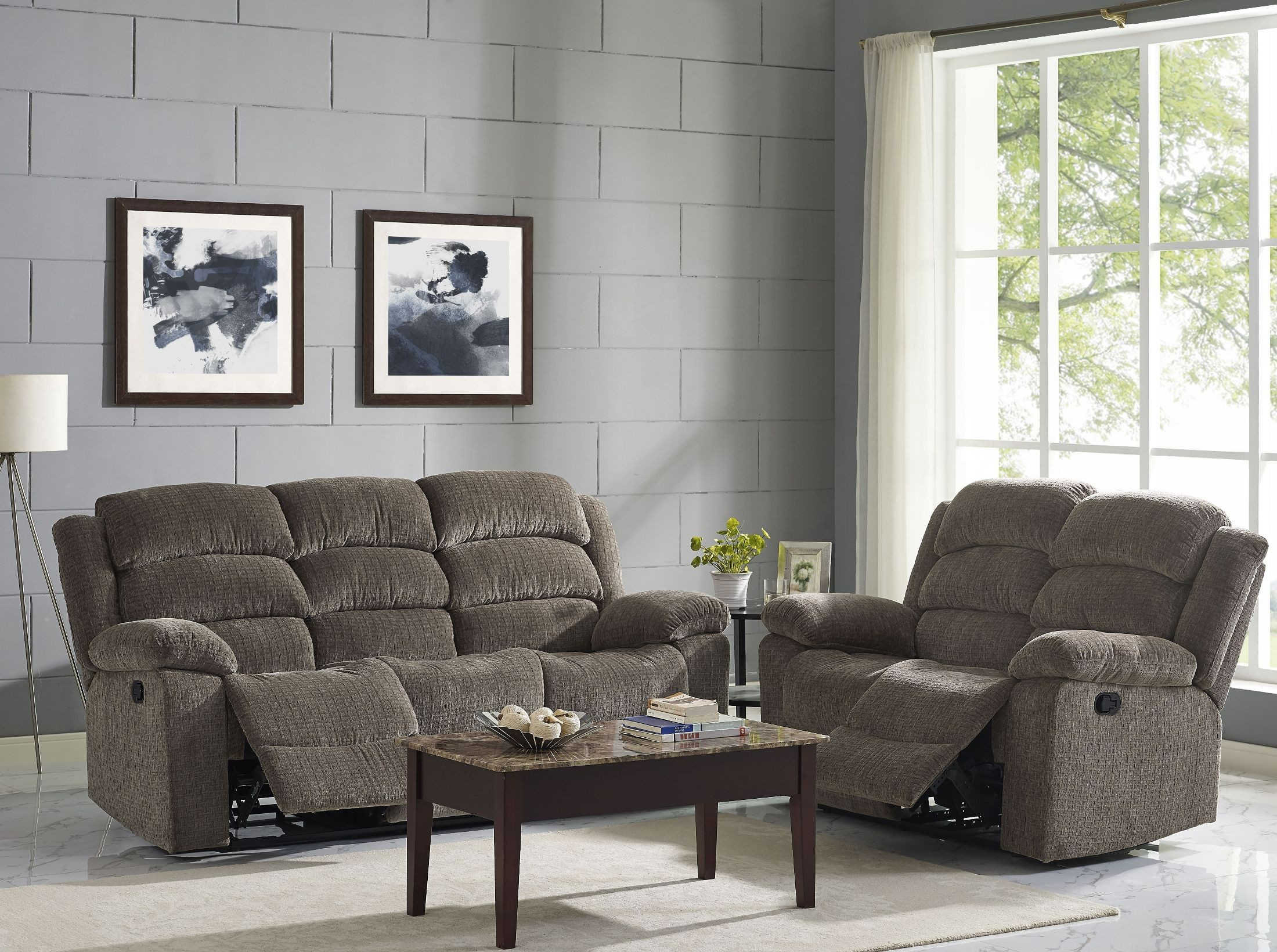 Austin Stone Dual Power Reclining Room Set From New Classic Coleman Furniture