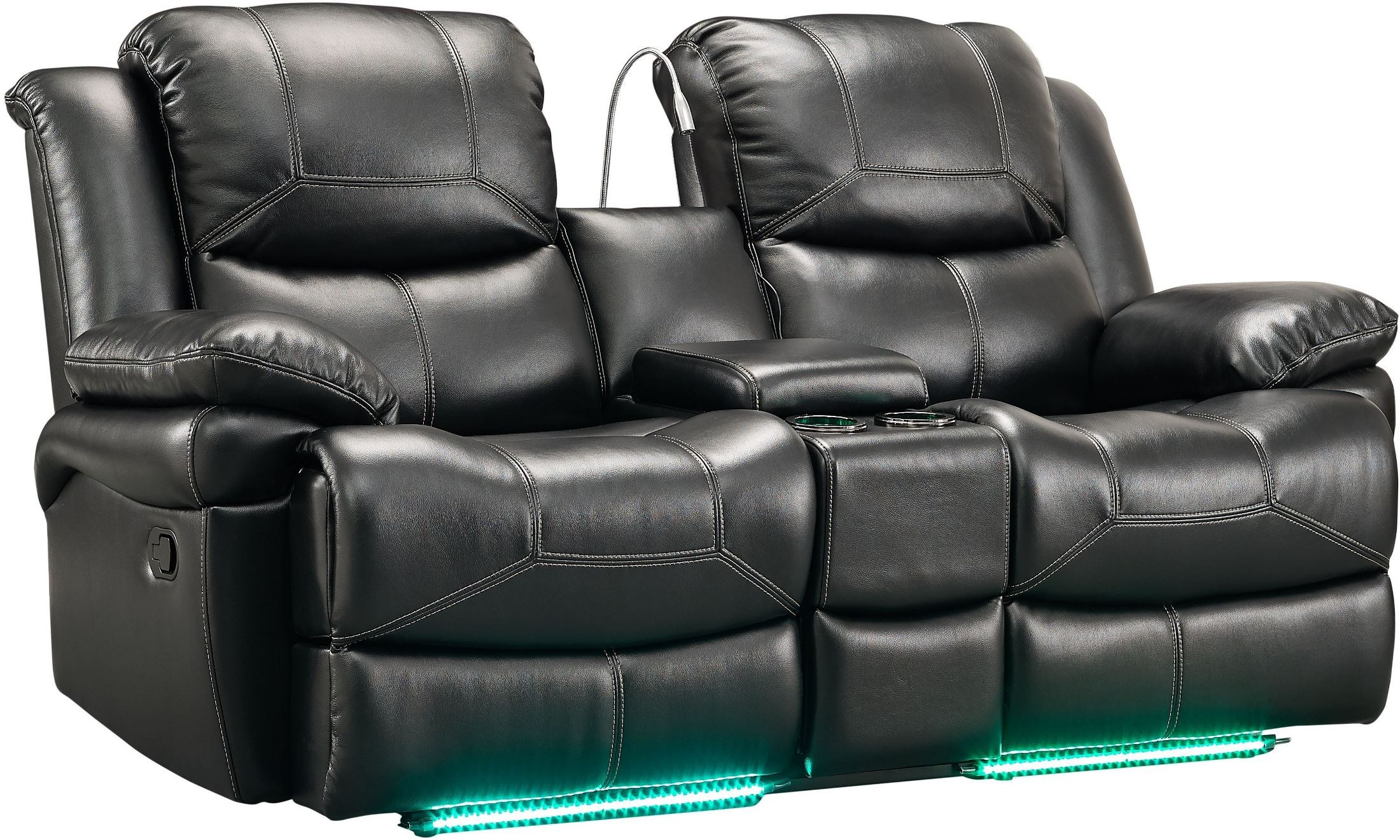 Flynn Premier Black Power Reclining Console Loveseat From