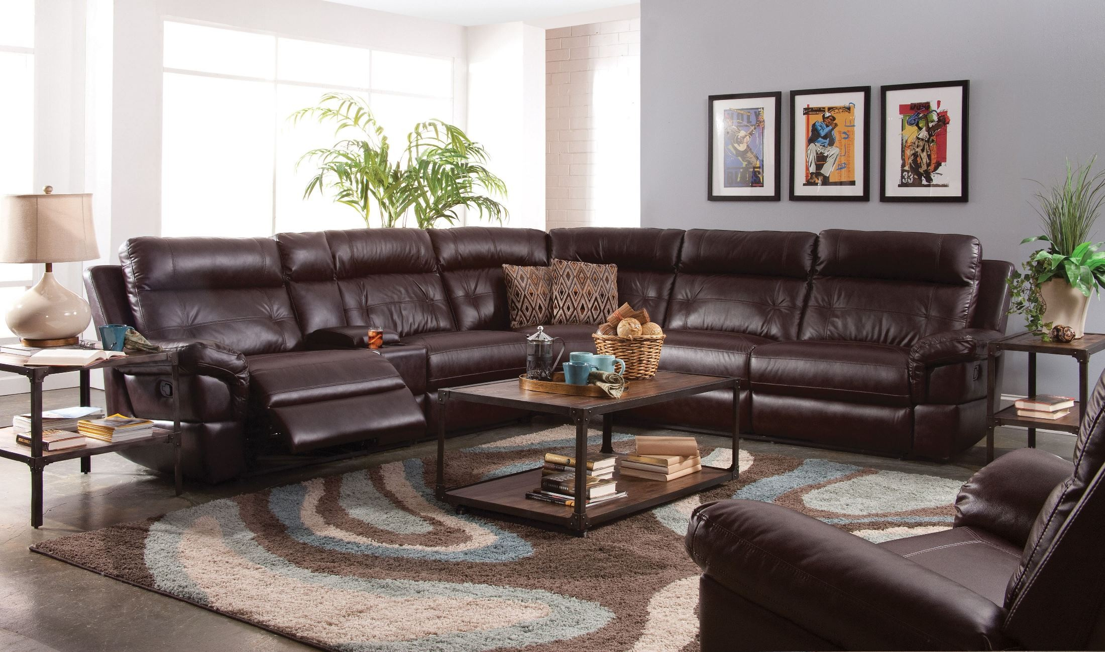 Sussex Lambskin Chocolate Power Reclining Sectional From New Classic Austin Wedges Meagan Brown Cokelat 40 Coleman Furniture