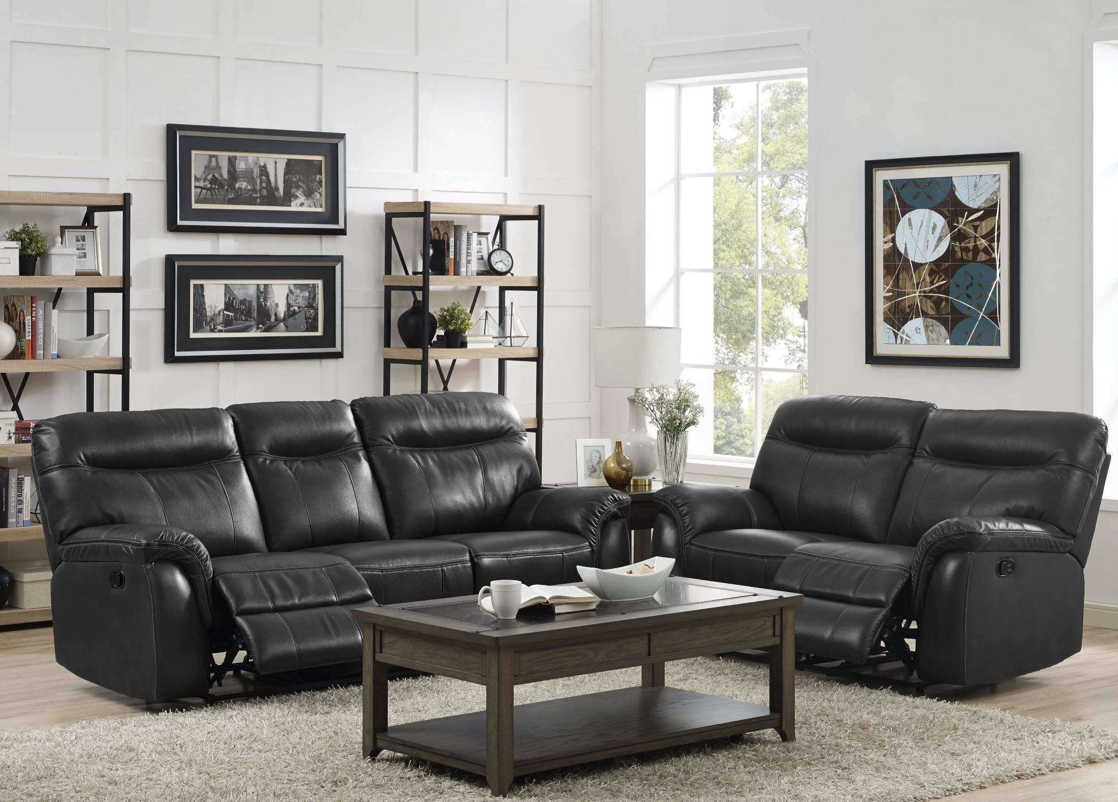 Atlas grey dual power reclining room set from new classic for Grey front room furniture