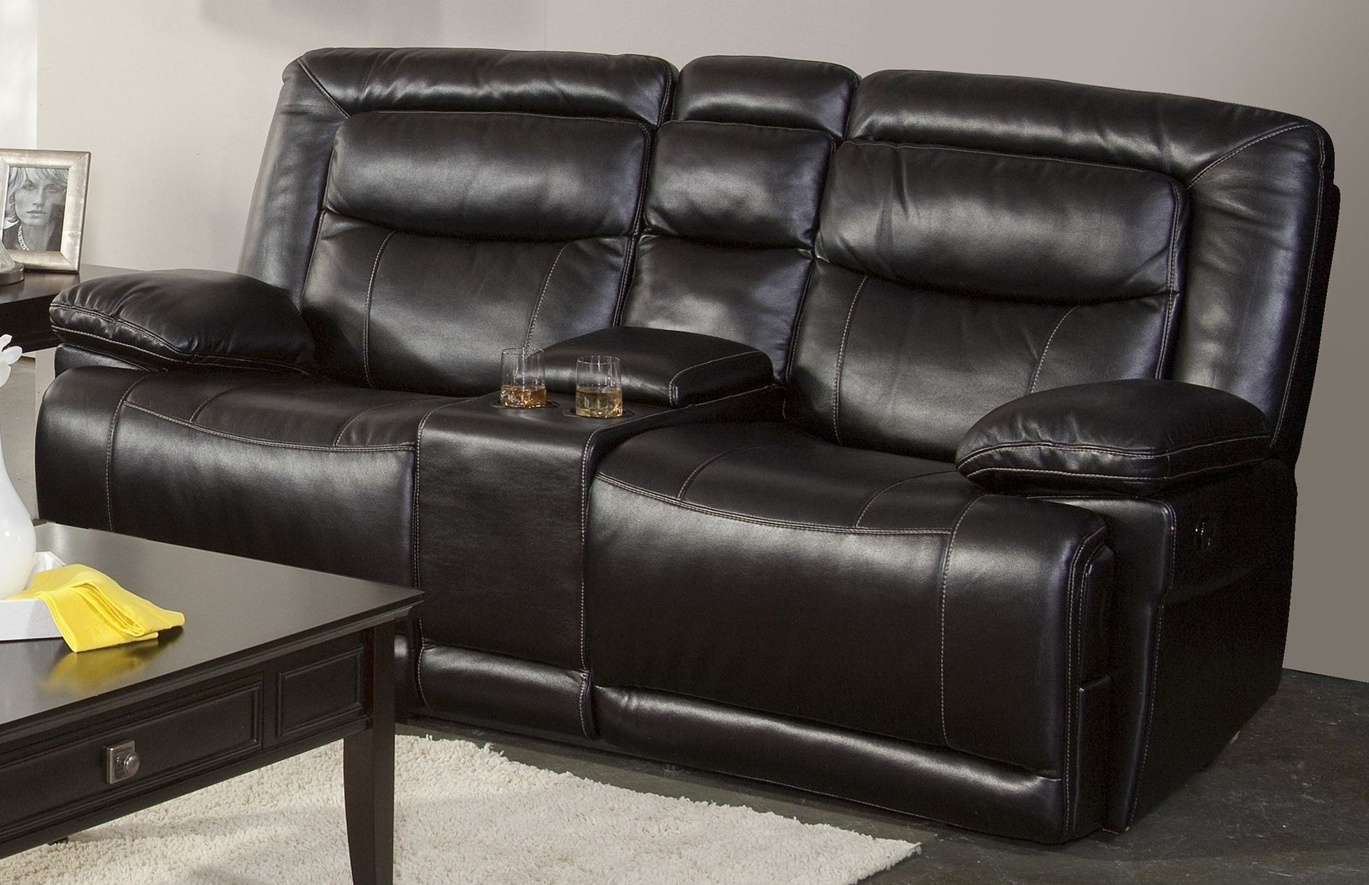Torino Premier Black Dual Reclining Loveseat With Console From New Classics 20 246 25 Pbk