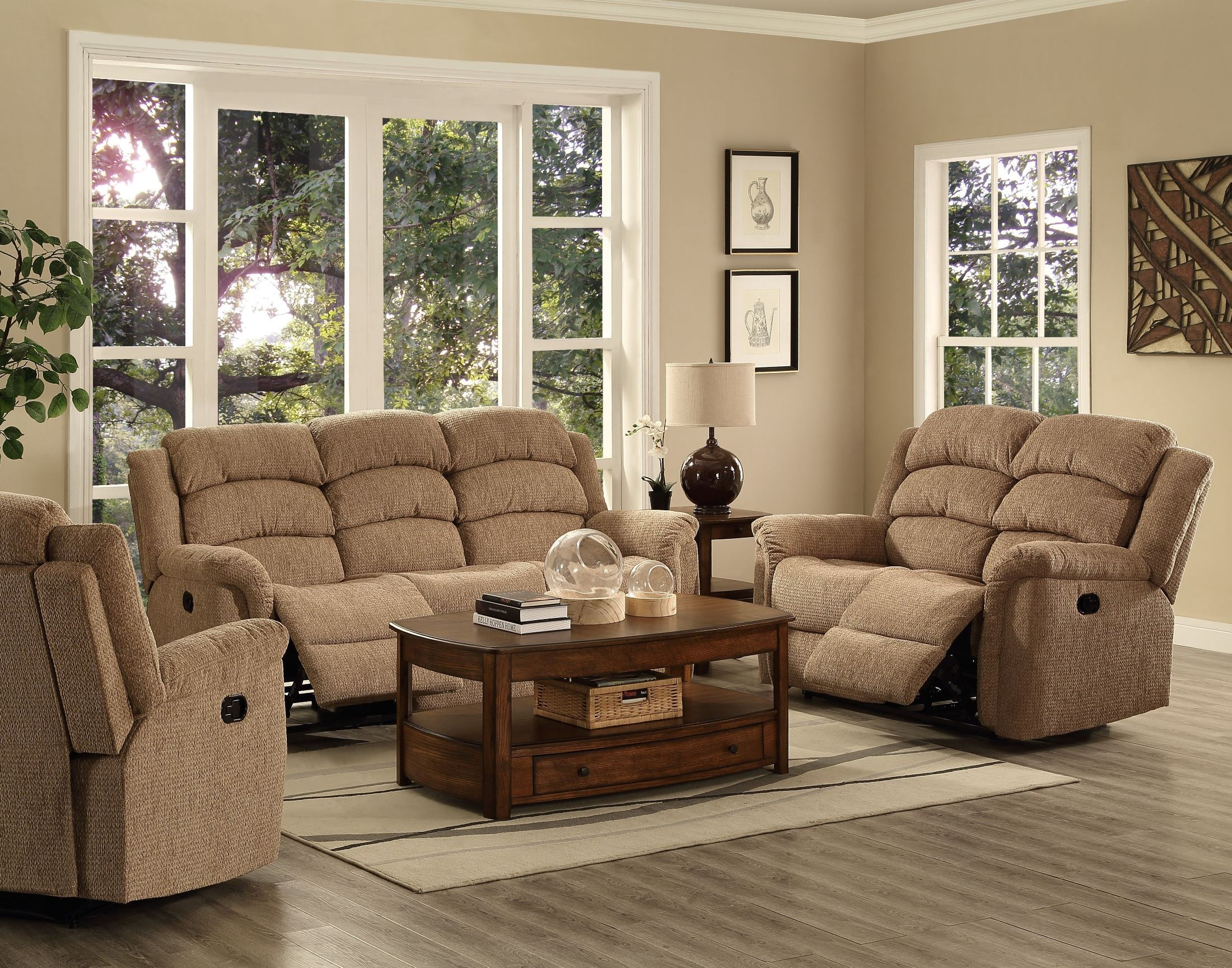 Ross taupe dual reclining living room set from new for Classic taupe living room