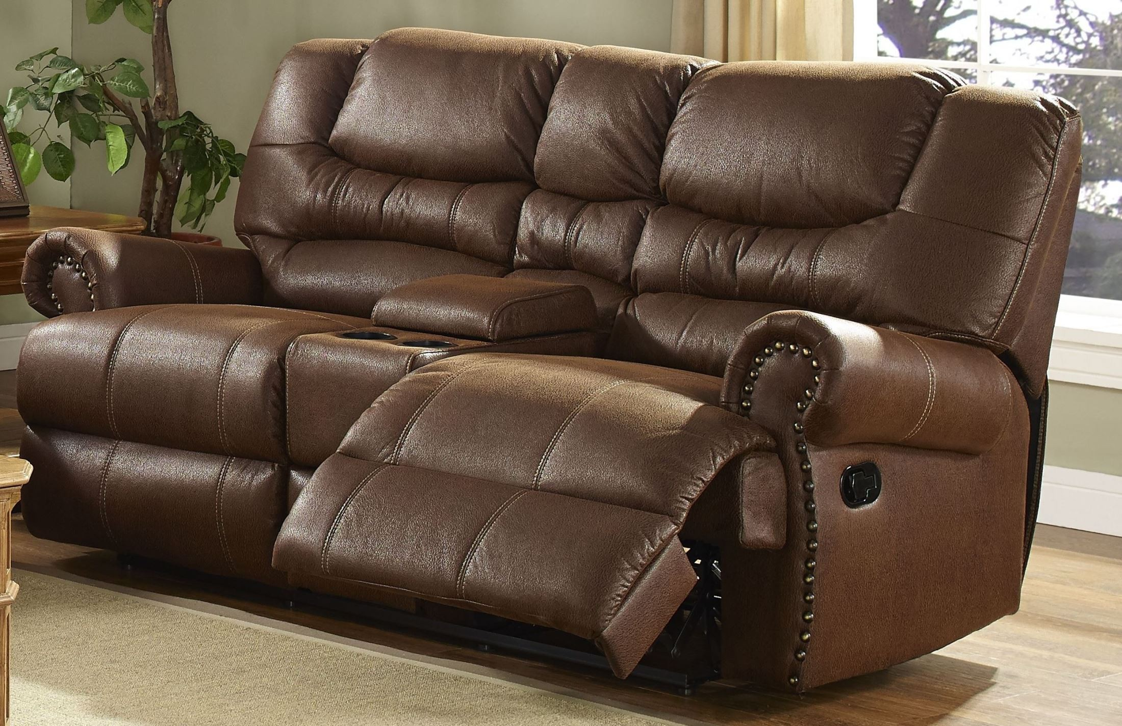 Laredo Cordova Mocha Dual Recliner Loveseat With Console From New Classics 20 395 25 Moc