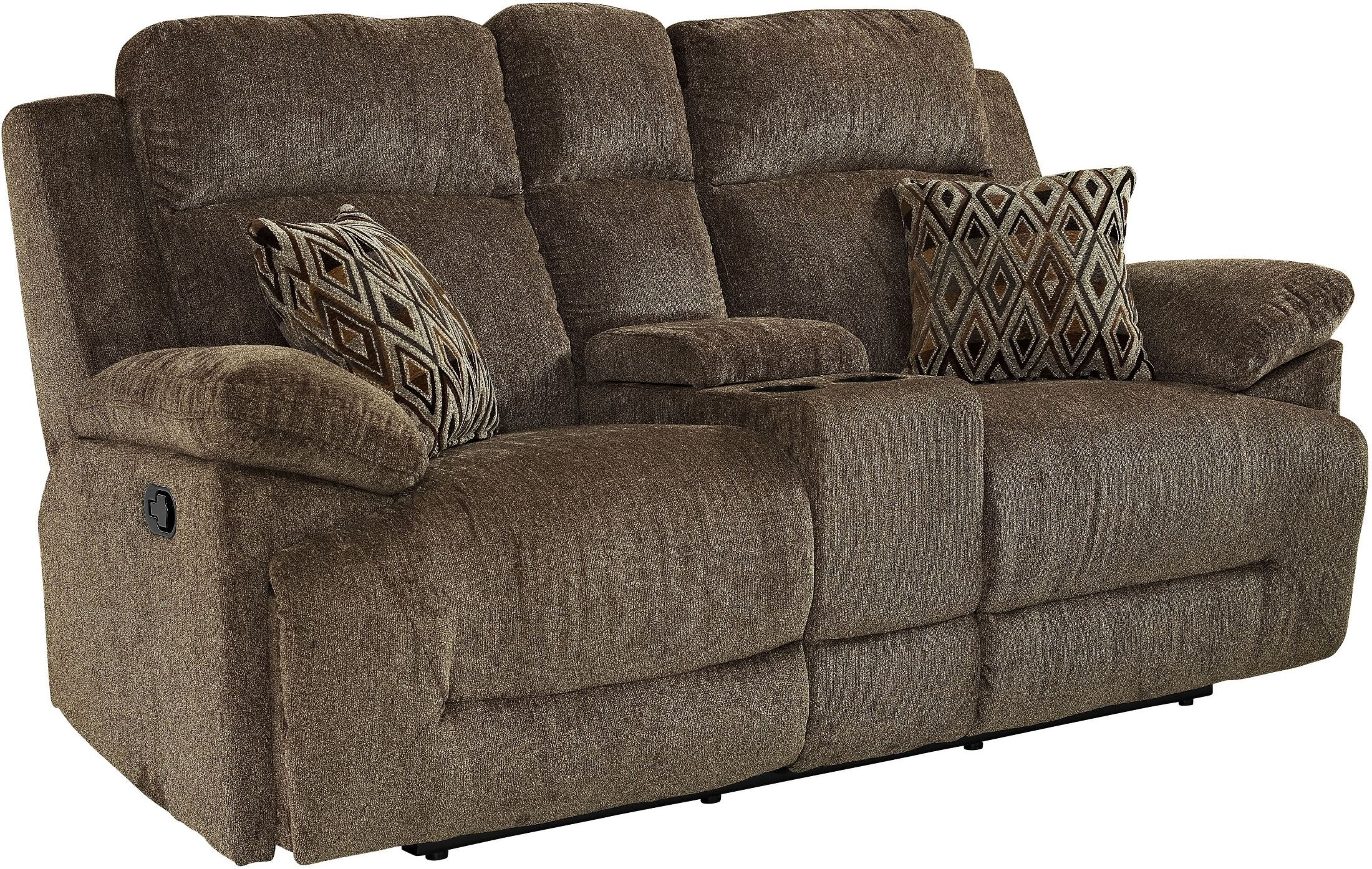Ryder King Kong Cocoa Dual Reclining Console Loveseat From